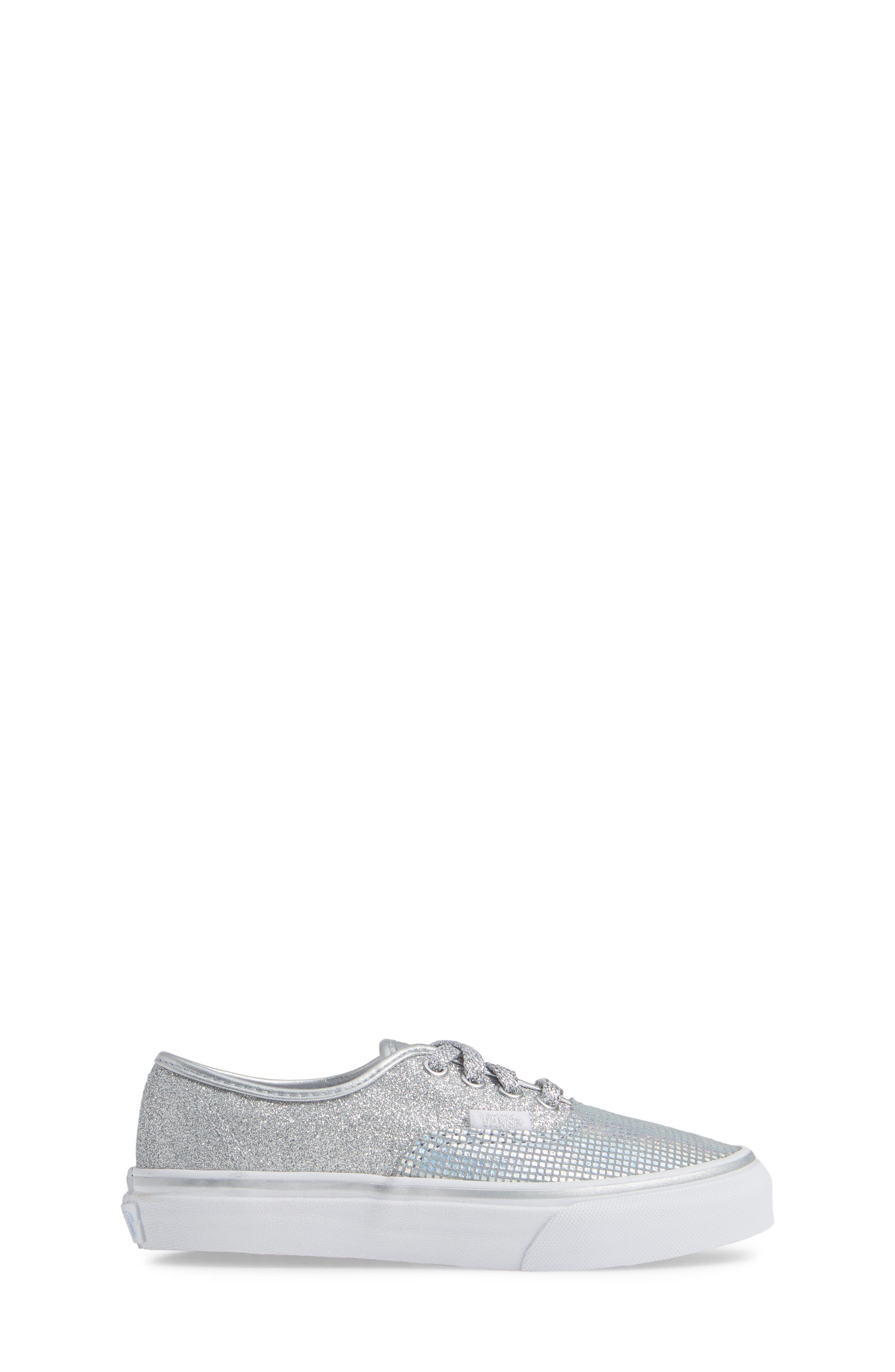 Authentic Glitter Sneaker,                             Alternate thumbnail 3, color,                             SILVER TEXTILE