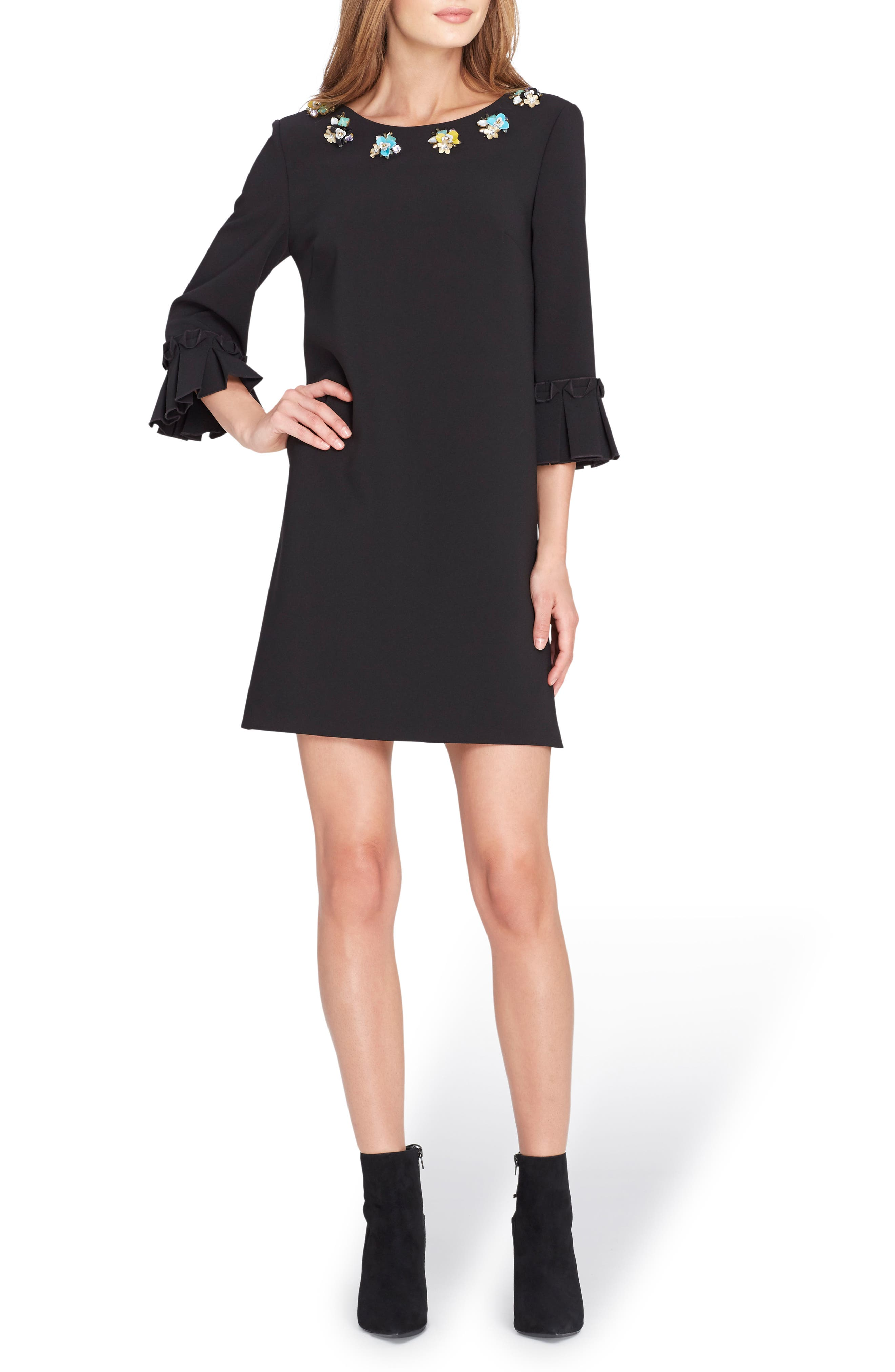 Embellished Bell Sleeve Shift Dress,                             Main thumbnail 1, color,                             001