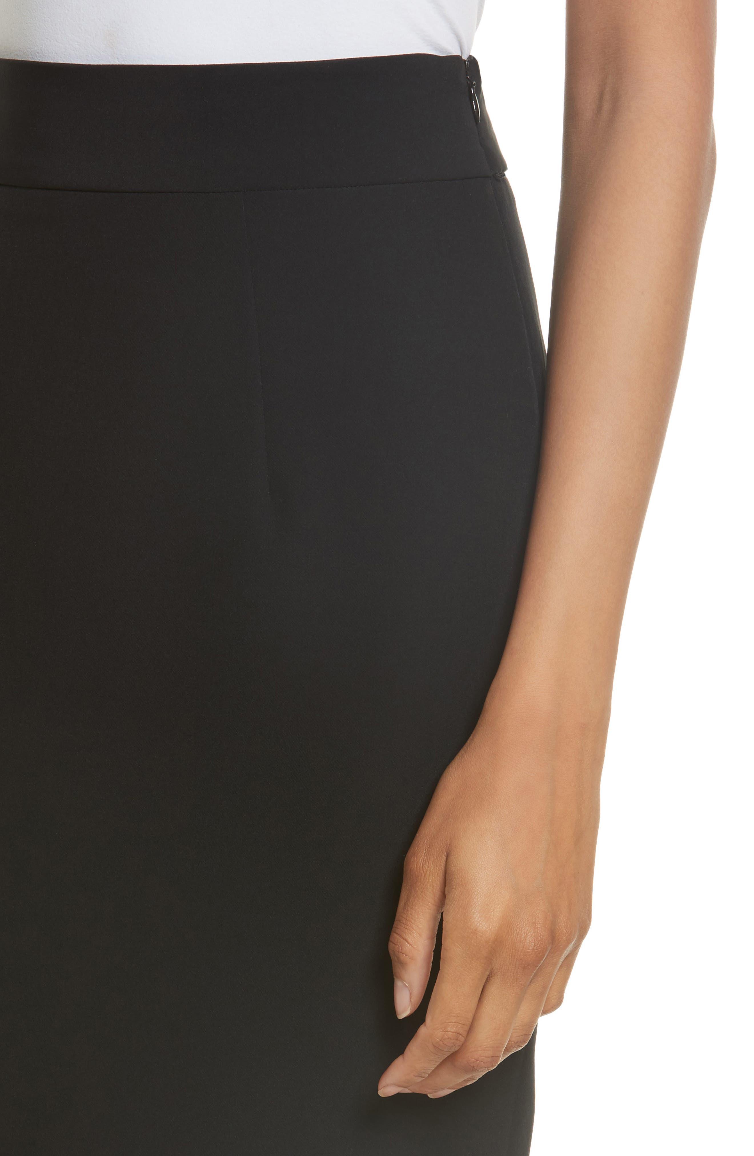 Italian Cady Side Slit Skirt,                             Alternate thumbnail 4, color,                             001