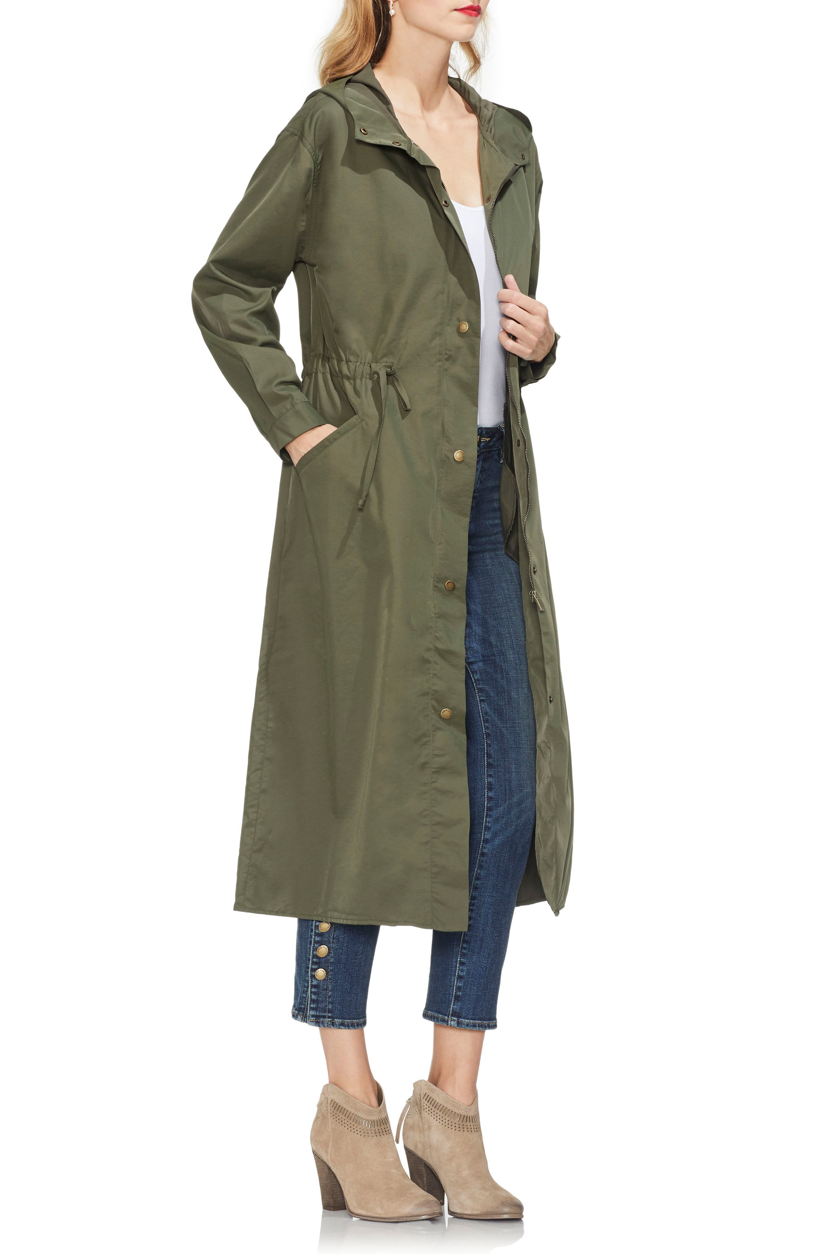 VINCE CAMUTO,                             Water Resistant Hooded Rain Jacket,                             Alternate thumbnail 3, color,                             341