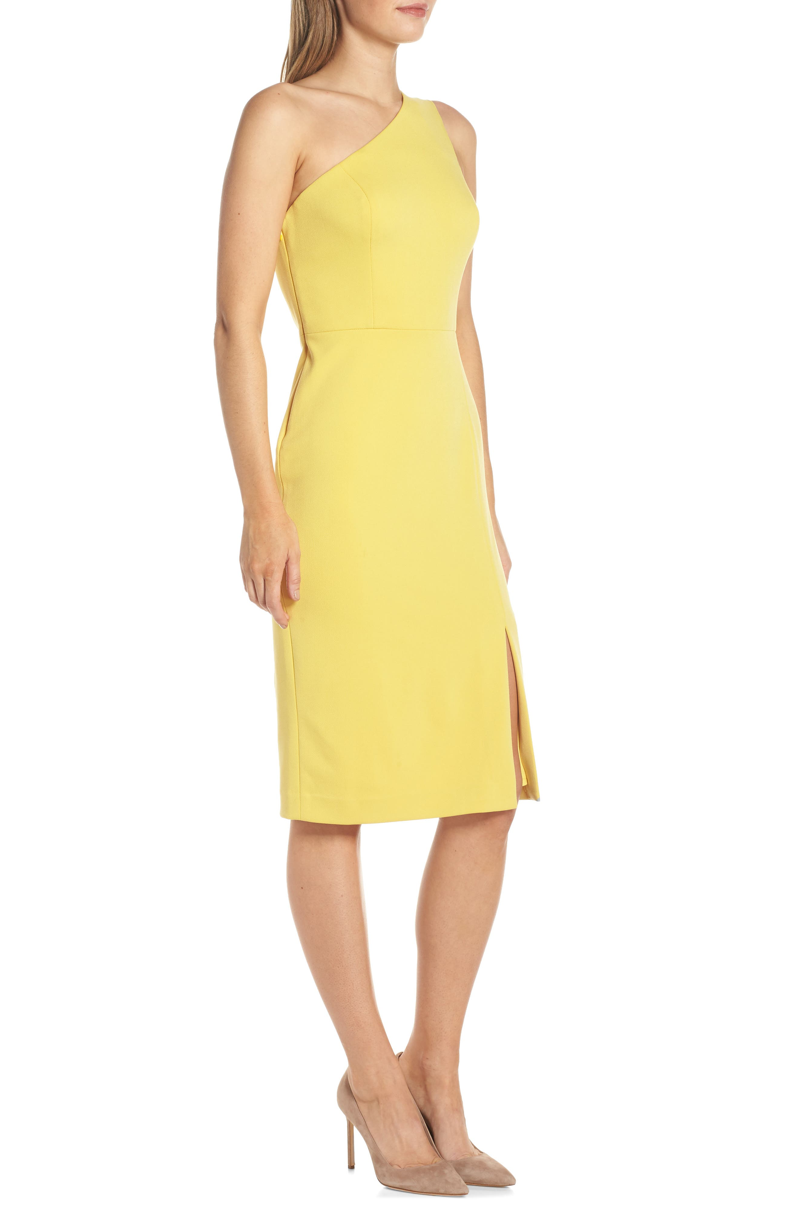 One-Shoulder Sheath Dress,                             Alternate thumbnail 3, color,                             YELLOW