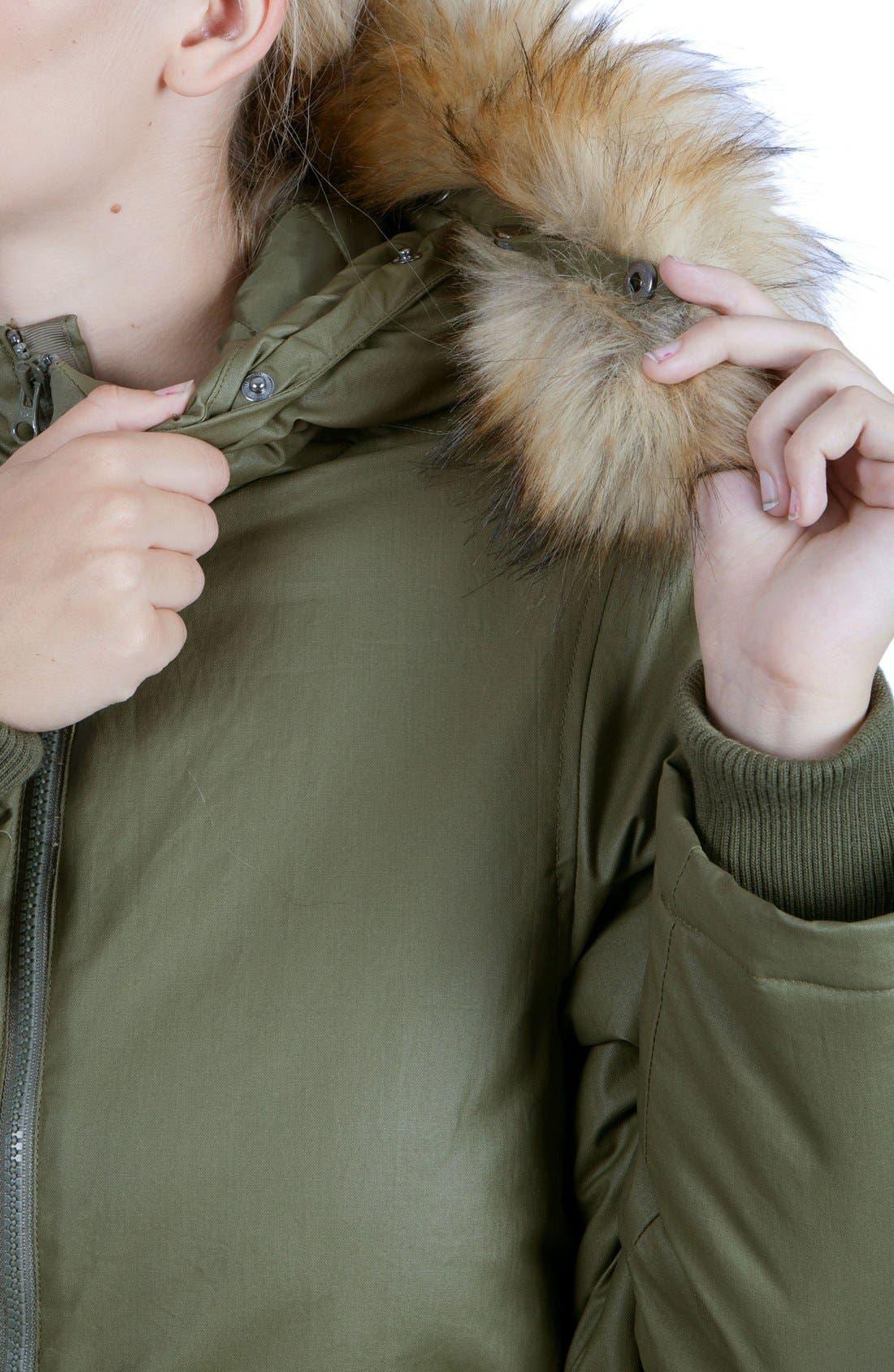 Sofia Waxed 3-in-1 Maternity/Nursing Jacket with Faux Fur Trim,                             Alternate thumbnail 6, color,                             KHAKI GREEN
