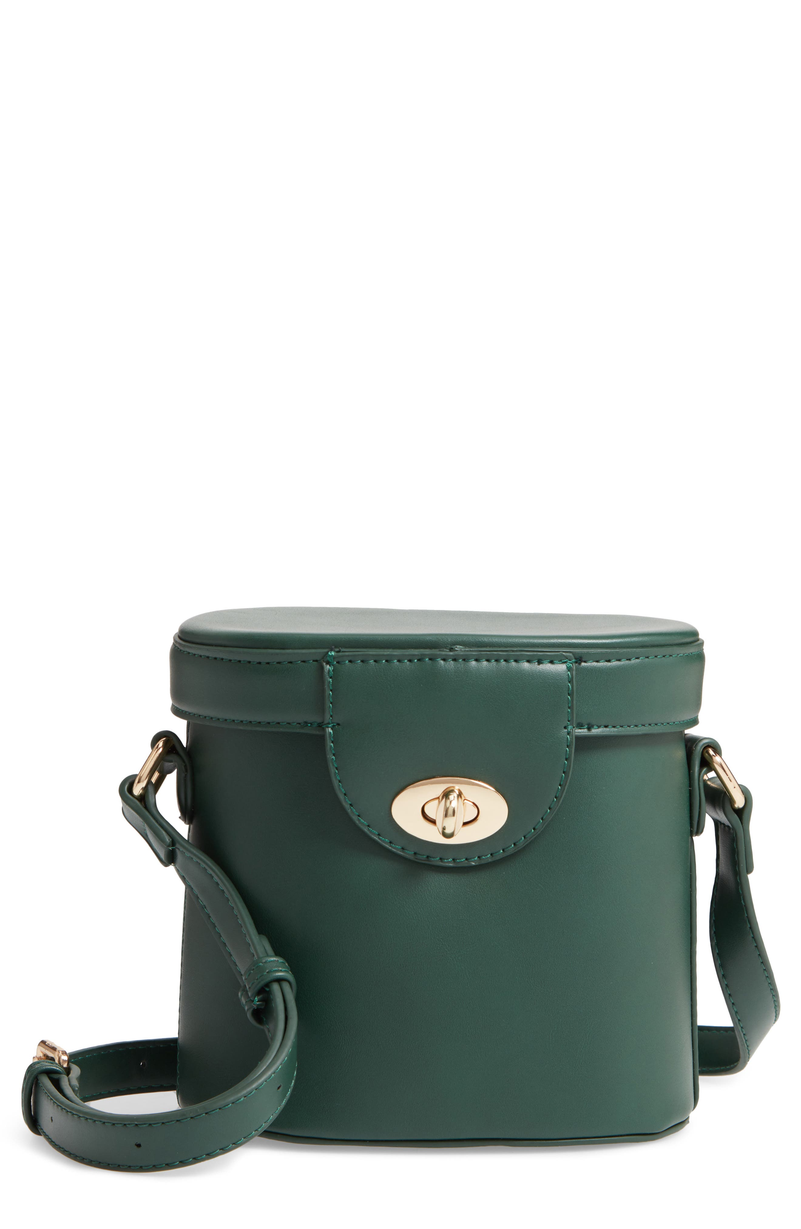 Faux Leather Bucket Bag,                             Main thumbnail 1, color,                             GREEN