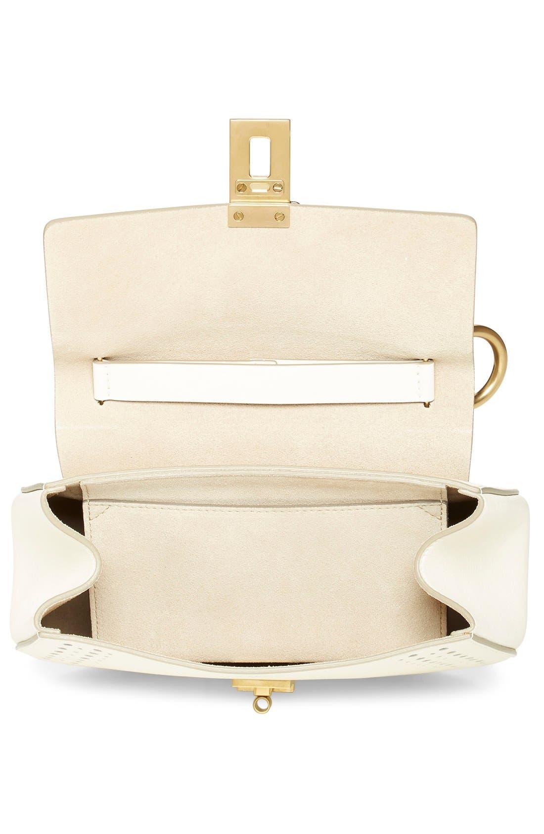 'Mini Drew' Calfskin Leather Shoulder Bag,                             Alternate thumbnail 4, color,                             100
