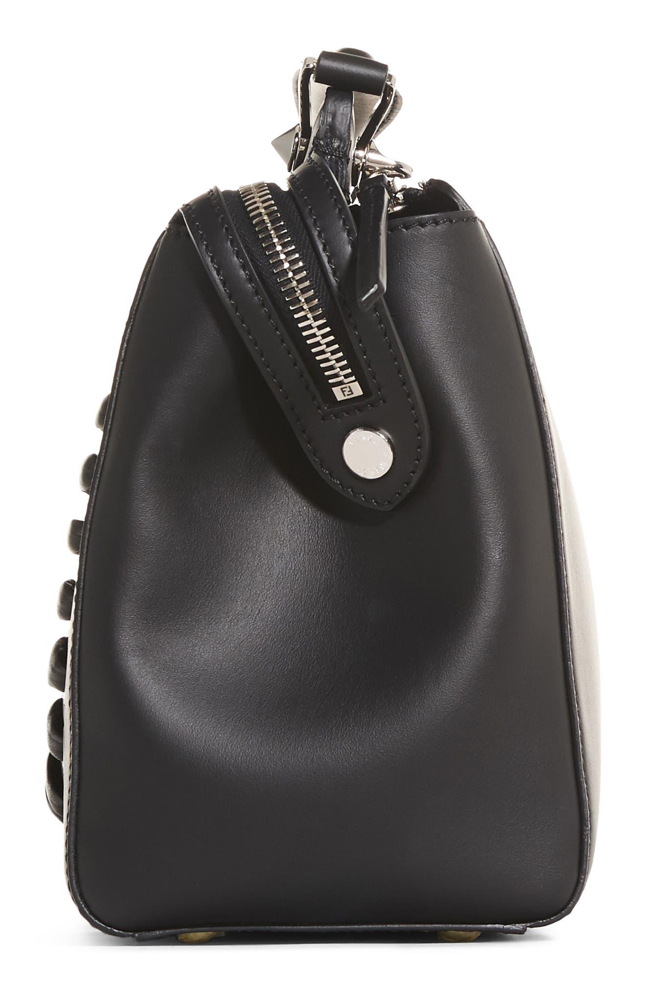 FENDI,                             'DOTCOM' Lace-Up Leather Satchel,                             Alternate thumbnail 4, color,                             004