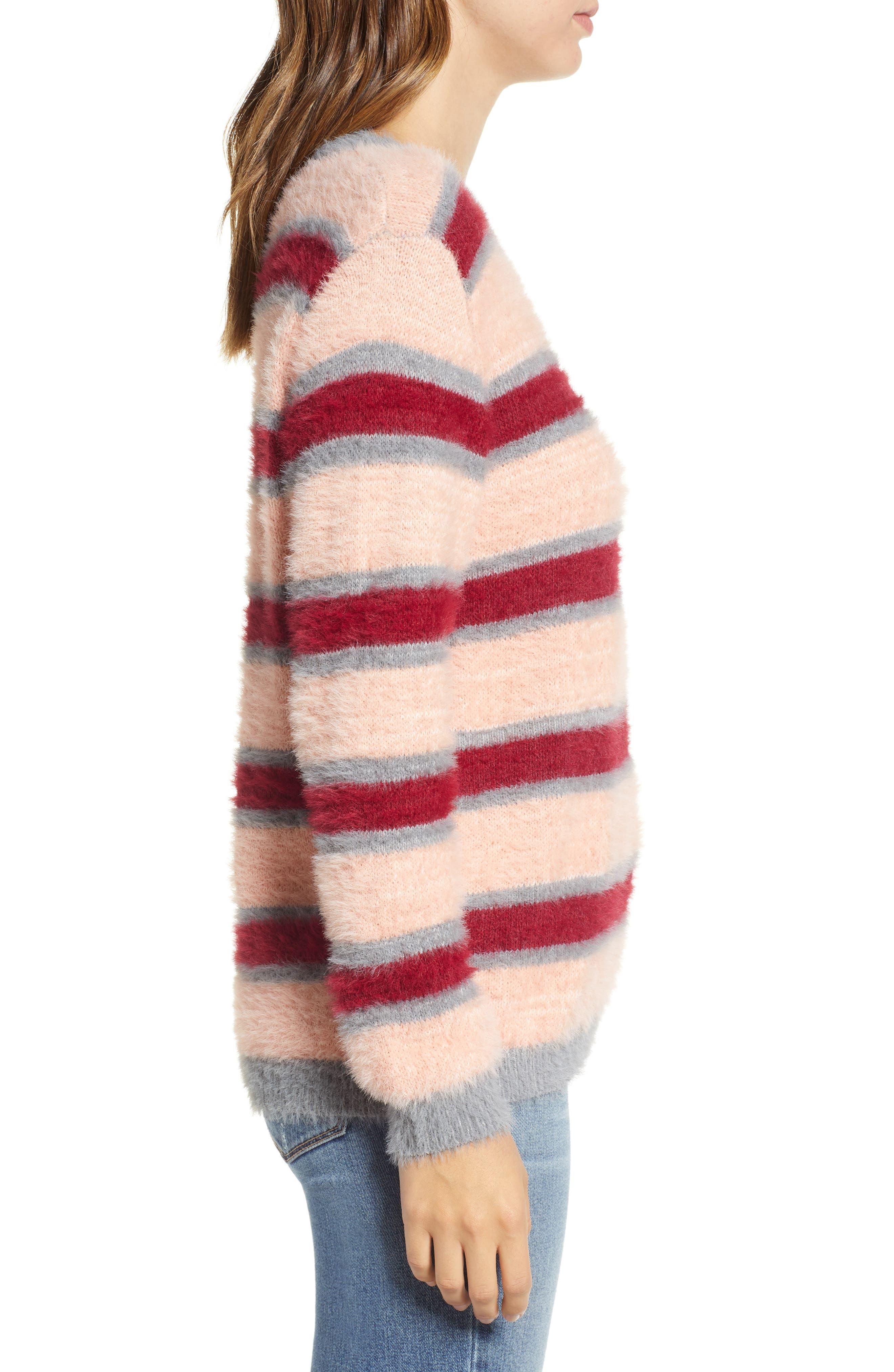 Stripe Eyelash Sweater,                             Alternate thumbnail 3, color,                             650