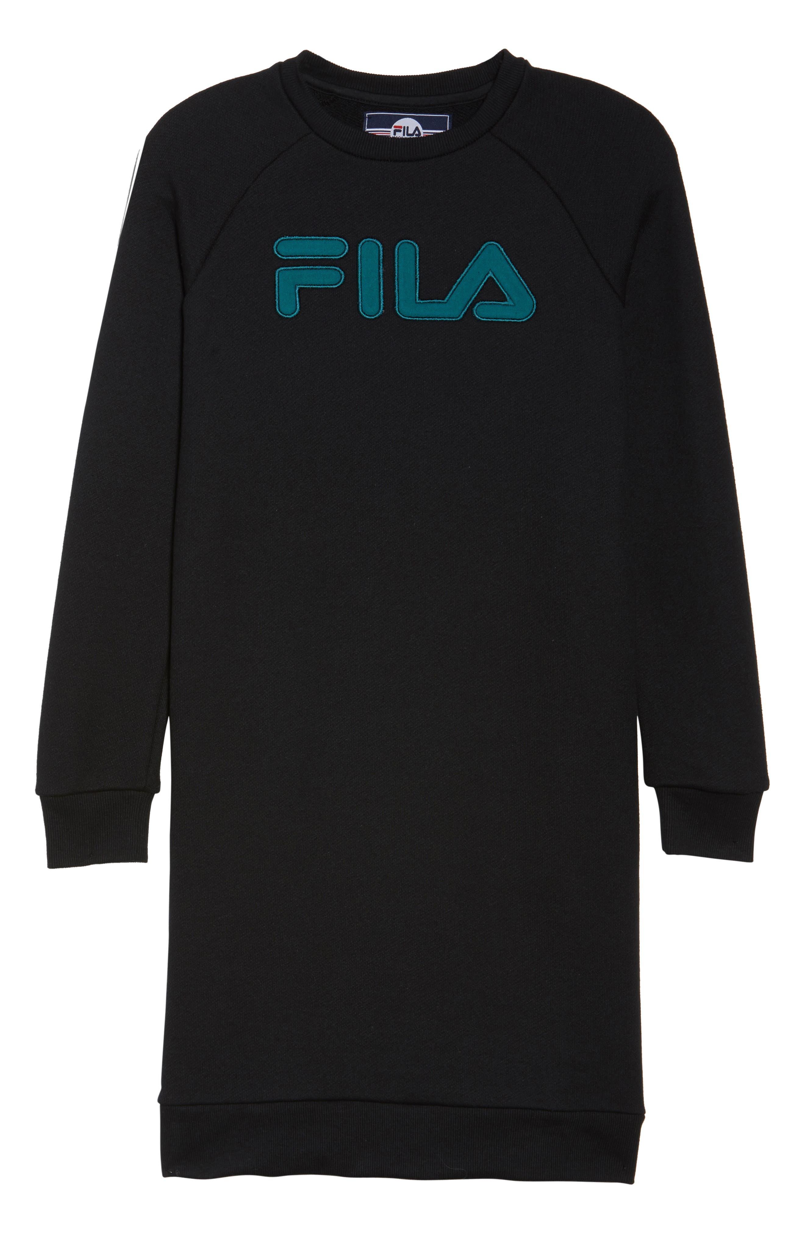 FILA,                             Courtney Sweatshirt Dress,                             Alternate thumbnail 7, color,                             001