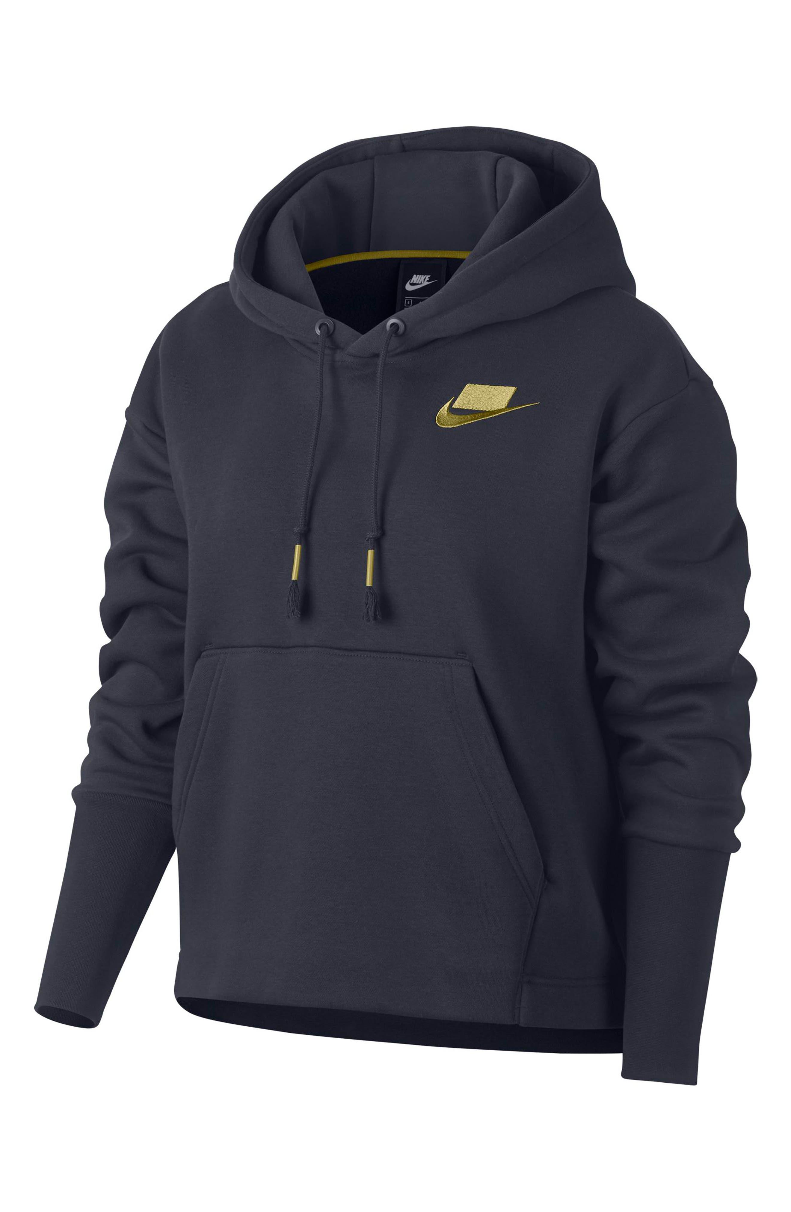 NIKE,                             Sportswear NSW Women's Fleece Hoodie,                             Alternate thumbnail 4, color,                             DARK OBSIDIAN/ OLIVE