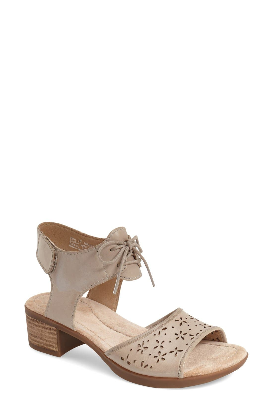 'Liz' Lace-Up Block Heel Sandal,                             Main thumbnail 1, color,                             270