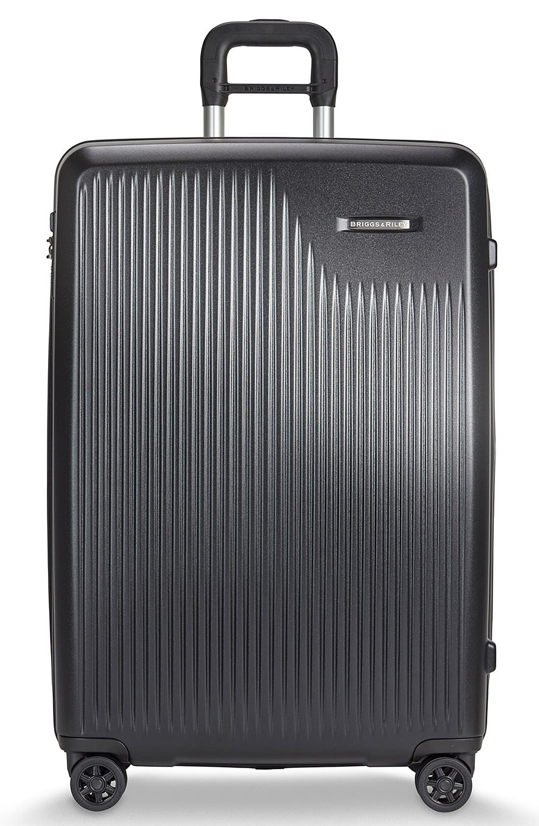 'Sympatico' Expandable Wheeled Packing Case,                         Main,                         color, BLACK