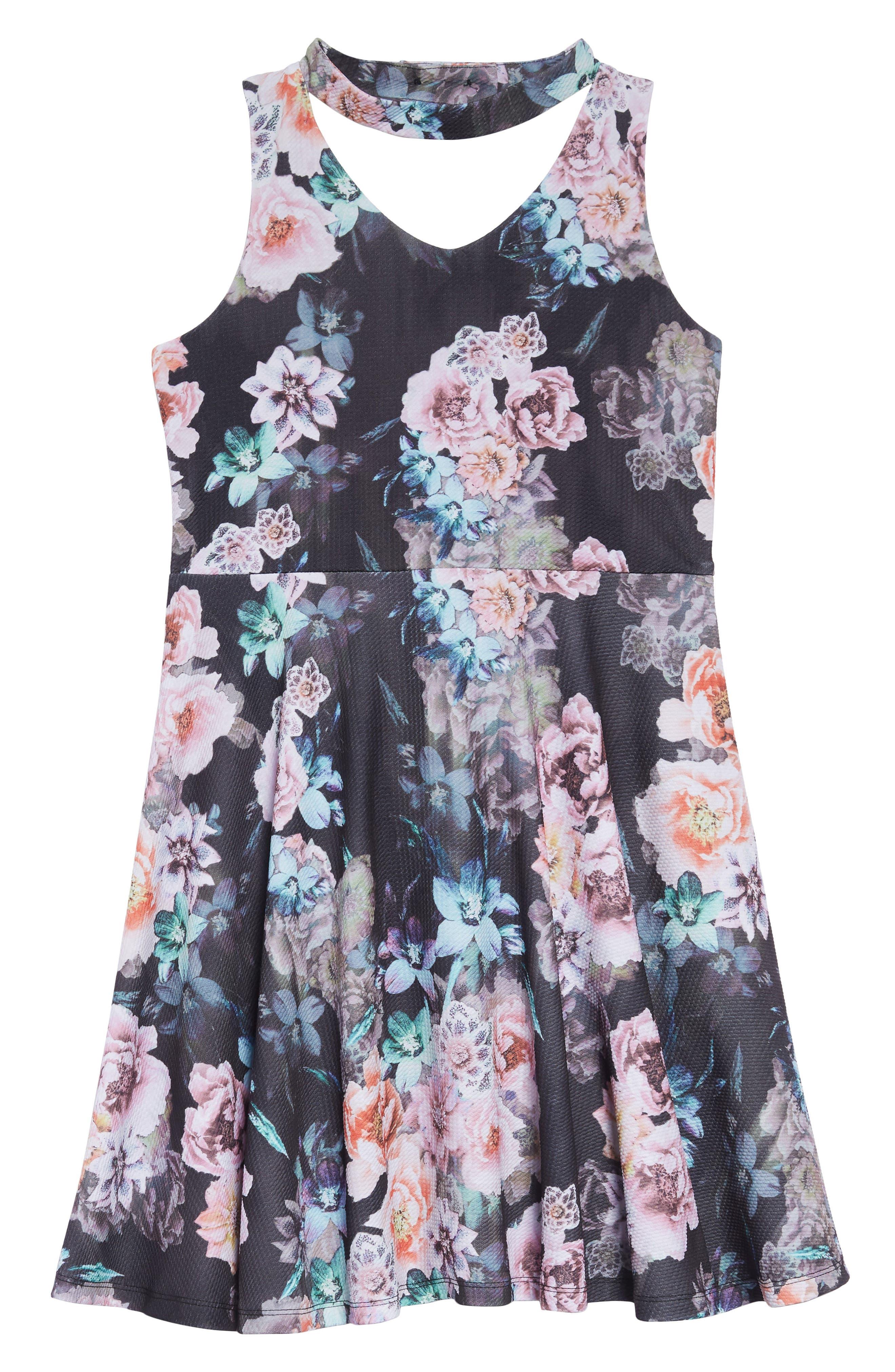 Gigi Floral Skater Dress,                             Main thumbnail 1, color,                             BLACK