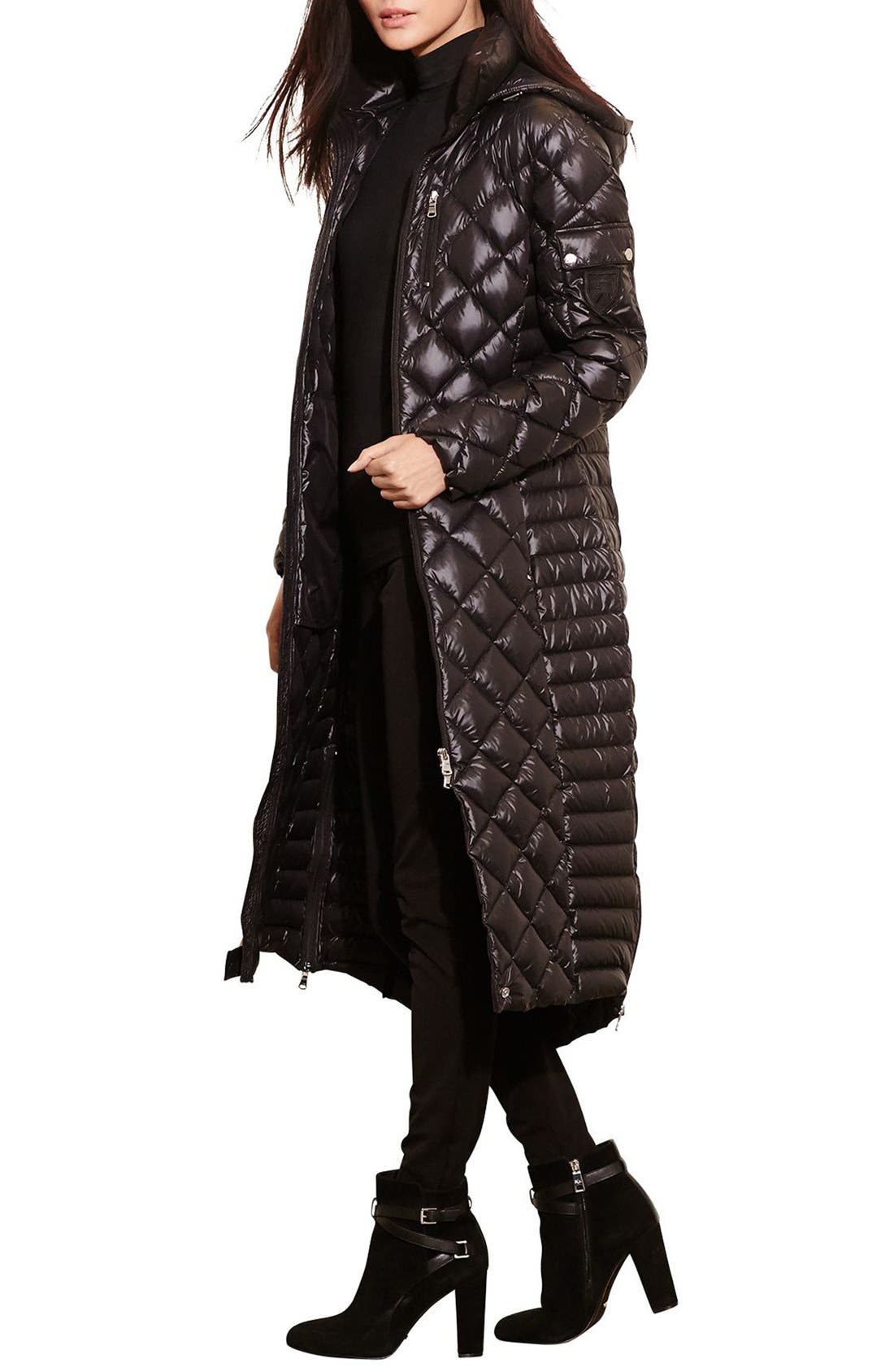 Packable Quilted Down Coat,                             Main thumbnail 1, color,                             BLACK