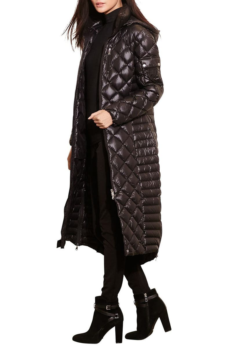 Packable Quilted Down Coat,                         Main,                         color, BLACK