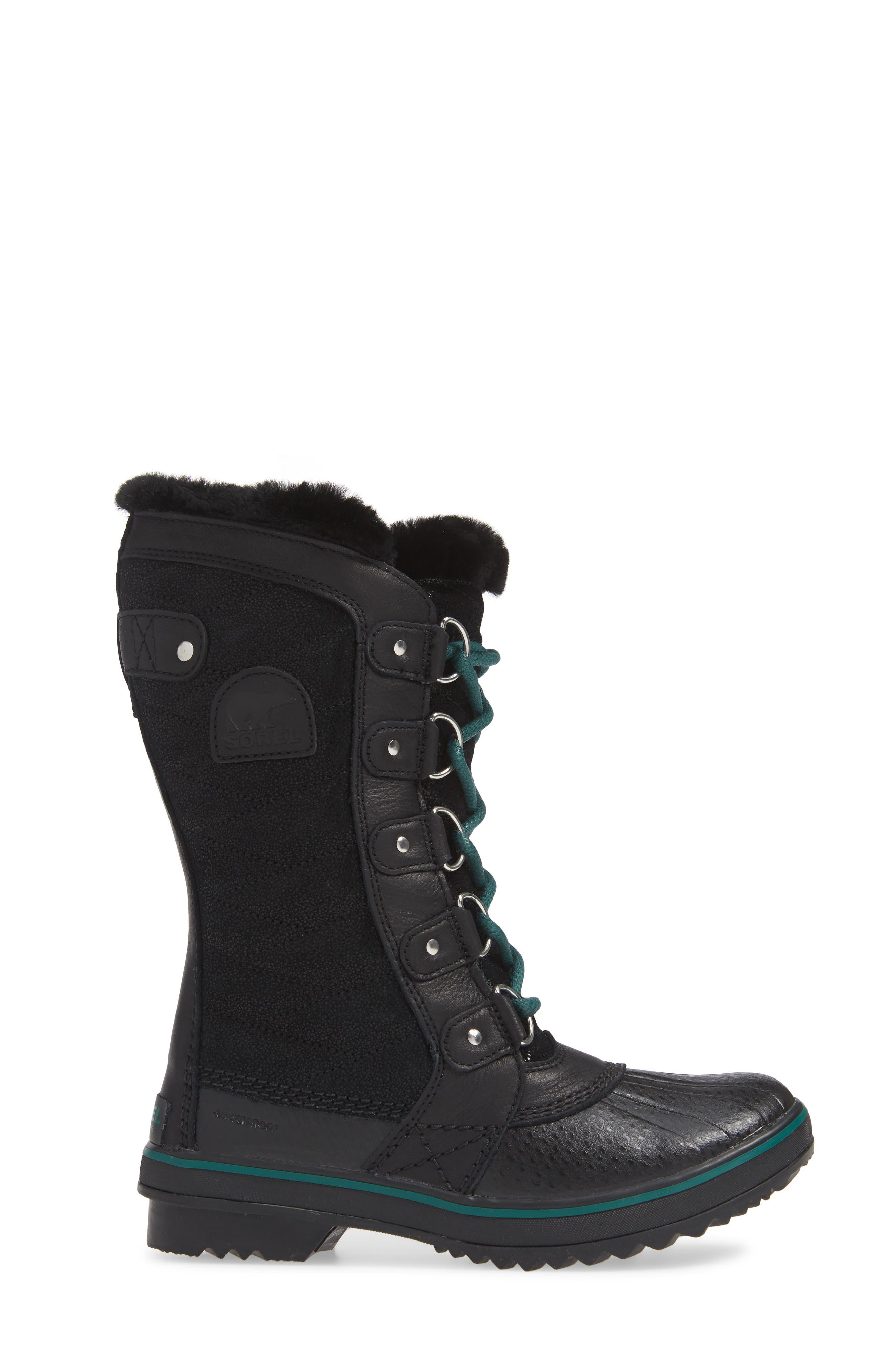 Tofino Faux Fur & Genuine Shearling Lined Waterproof Boot,                             Alternate thumbnail 3, color,                             BLACK