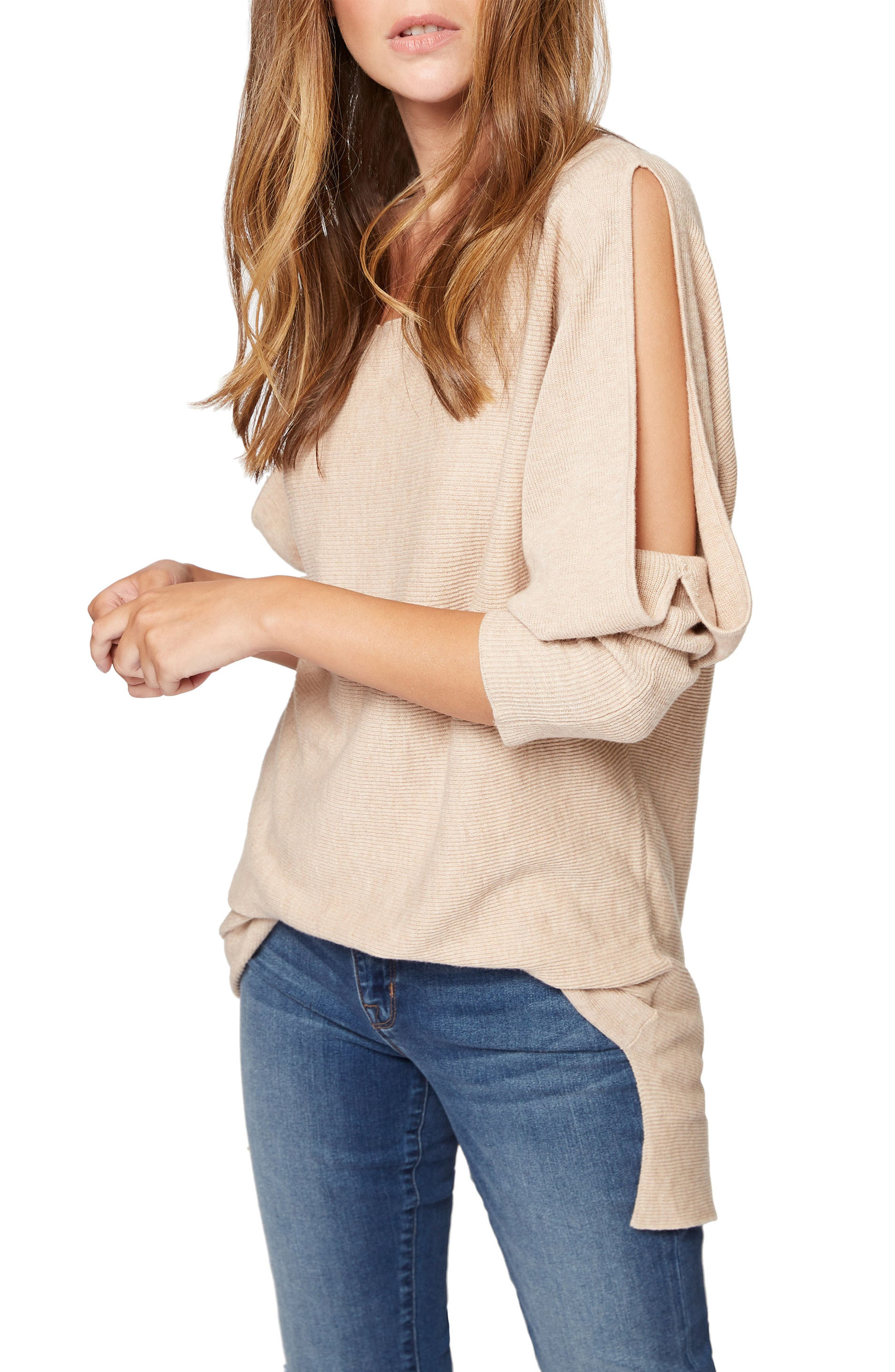 Sancutary Gillian Bare Shoulder Cutout Tunic Sweater,                             Alternate thumbnail 3, color,                             259
