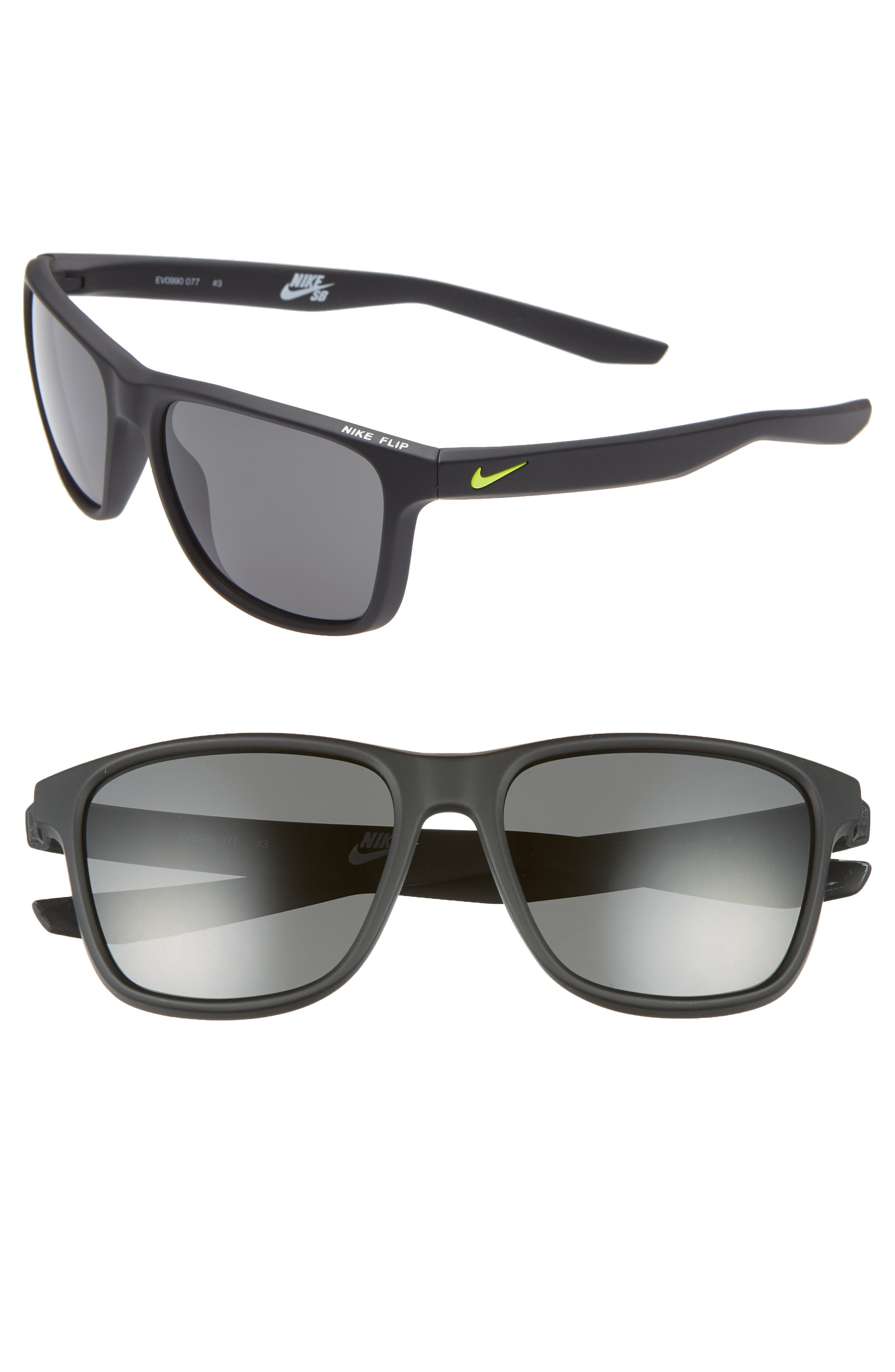 Nike Flip 5m Mirrored Sunglasses - Matte Black/ Grey