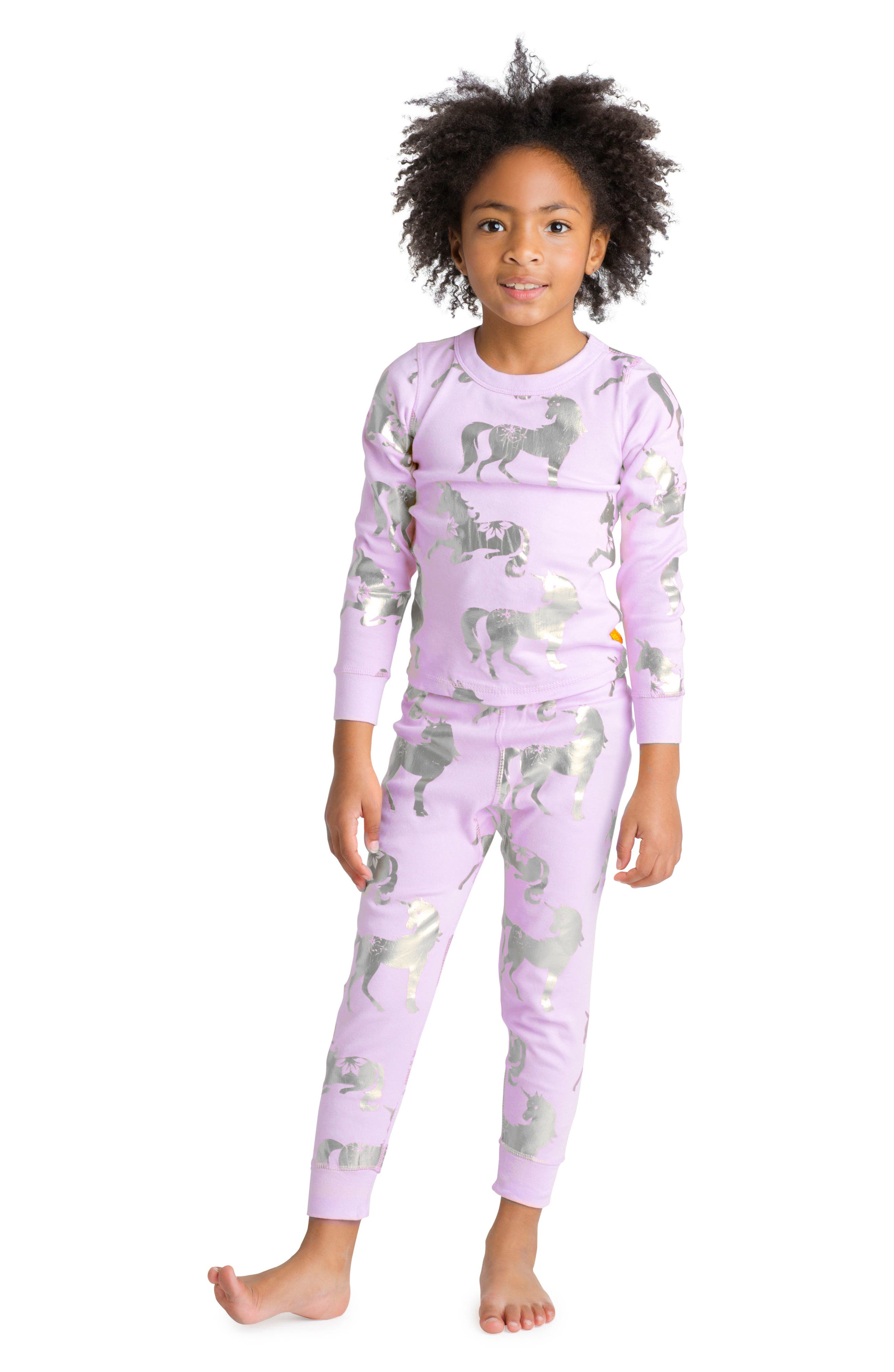 Unicorn Organic Cotton Fitted Two-Piece Pajamas,                             Alternate thumbnail 3, color,