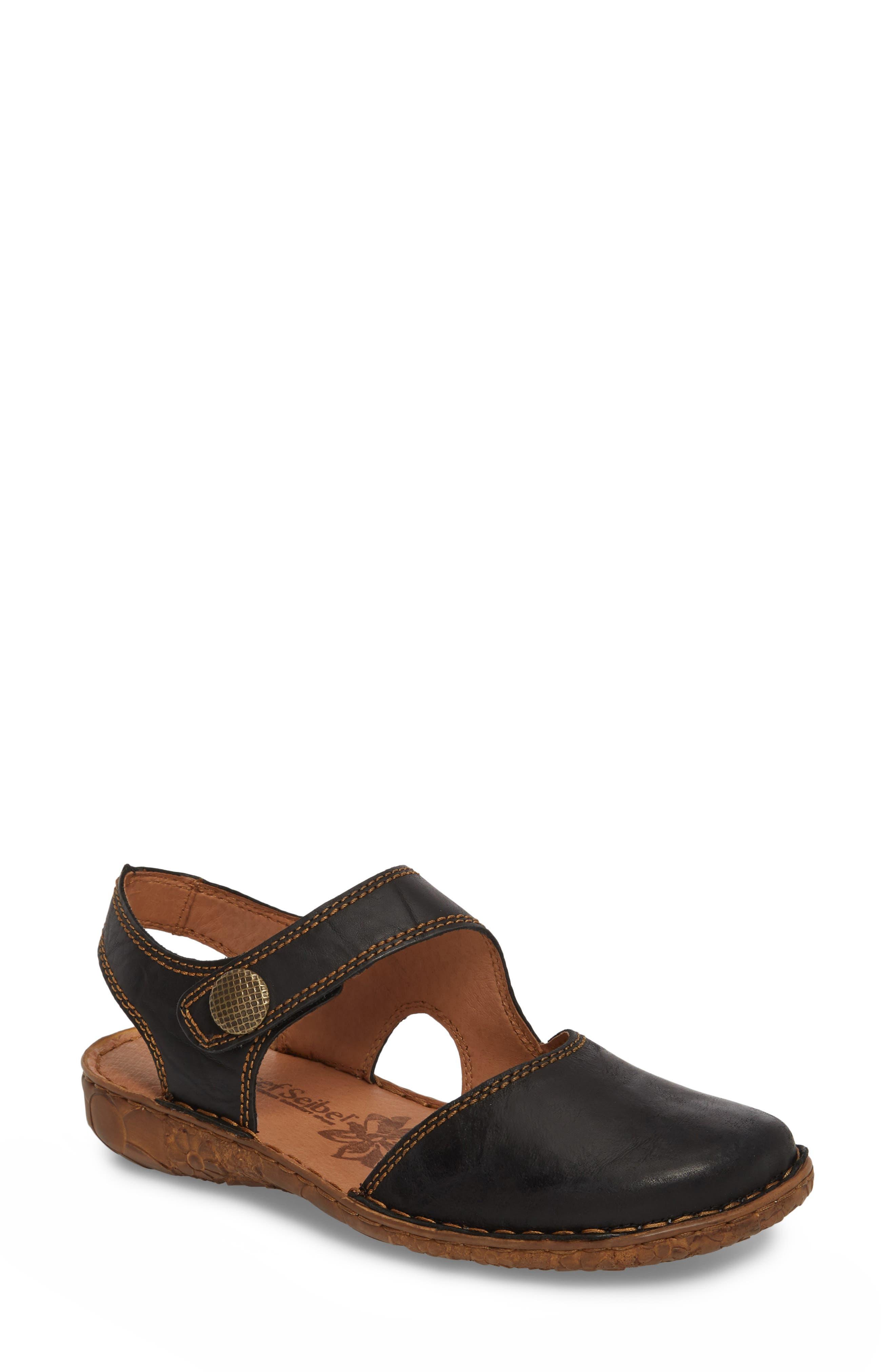 JOSEF SEIBEL Rosalie 27 Sandal, Main, color, BLACK LEATHER