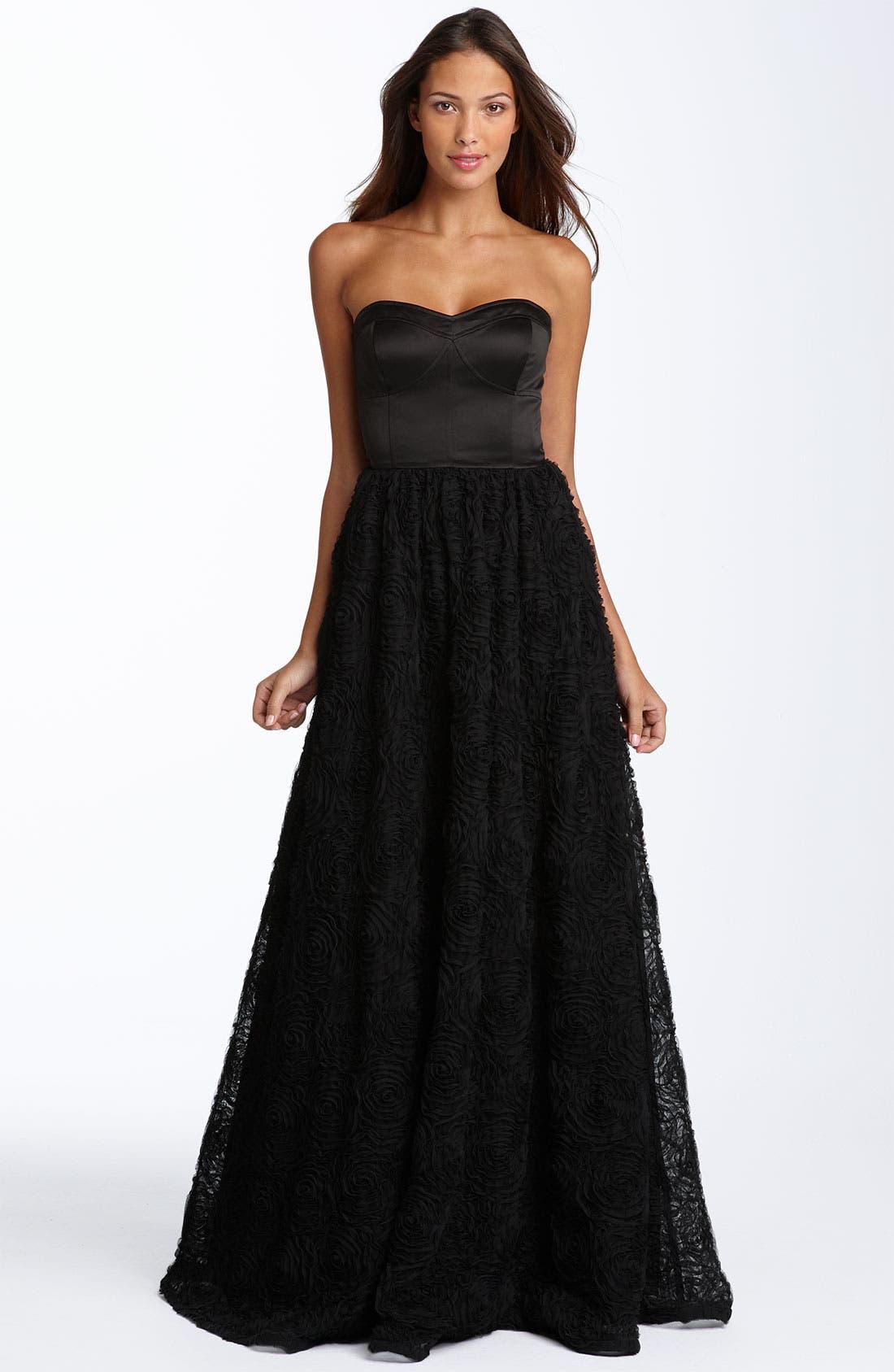 Strapless Rosette Ball Gown,                             Main thumbnail 1, color,                             001