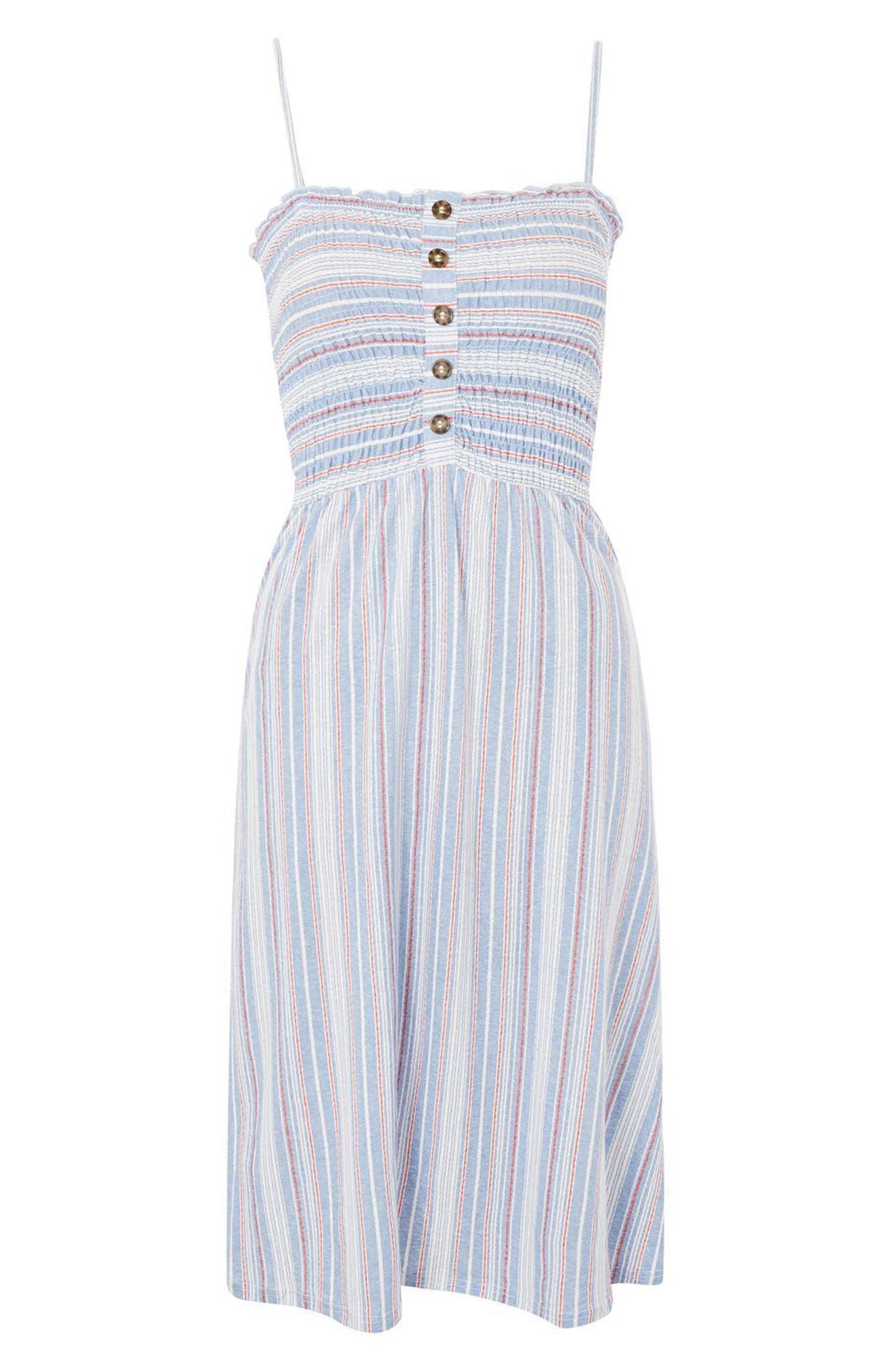 Stripe Shirred Midi Dress,                             Alternate thumbnail 3, color,                             400