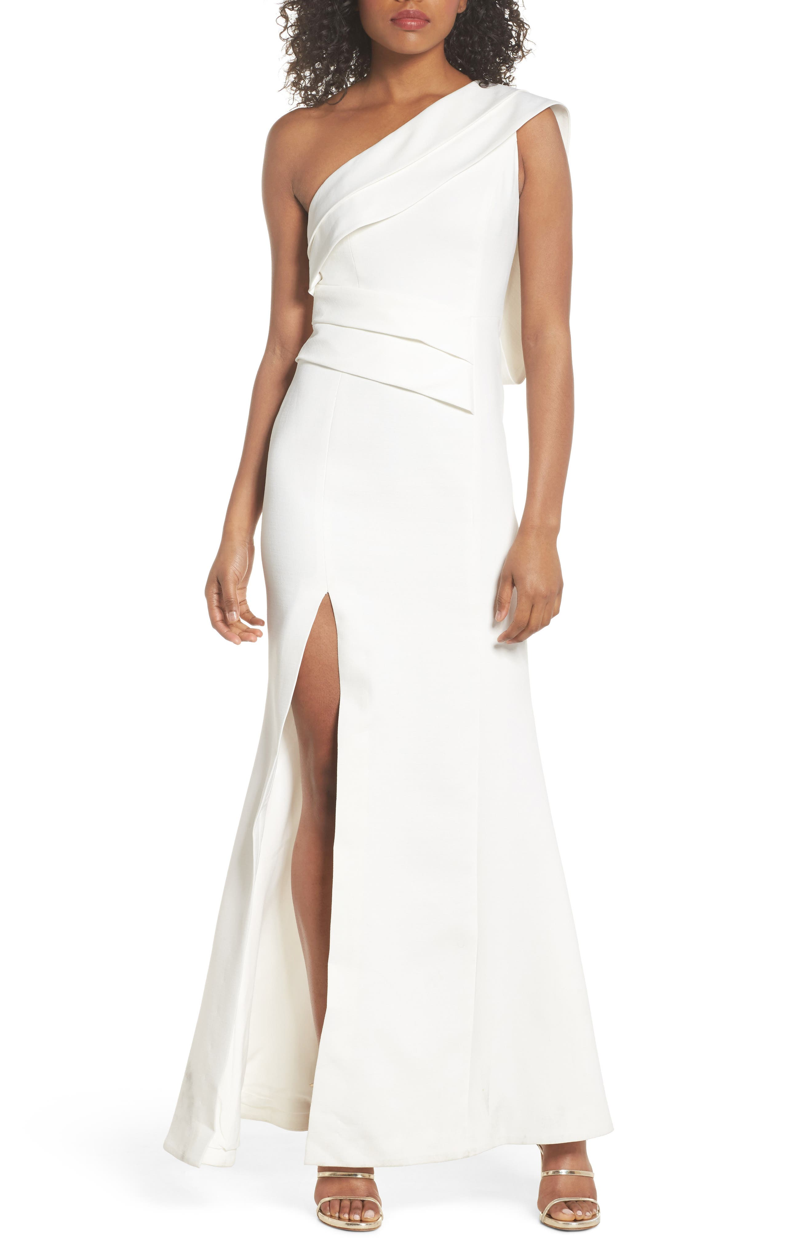 Be Moved One-Shoulder Gown,                         Main,                         color, IVORY