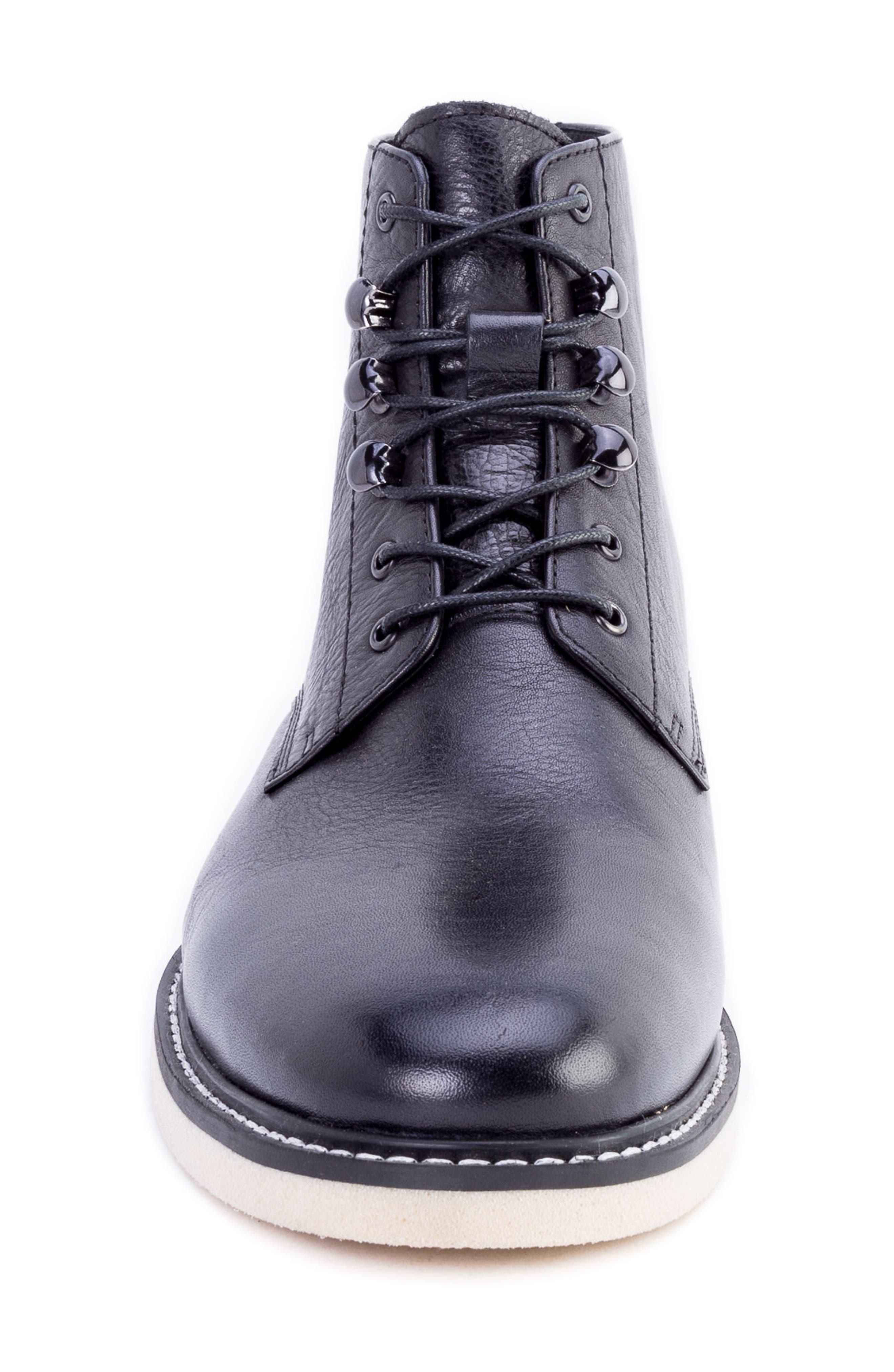 Finch Plain Toe Boot,                             Alternate thumbnail 4, color,                             BLACK LEATHER