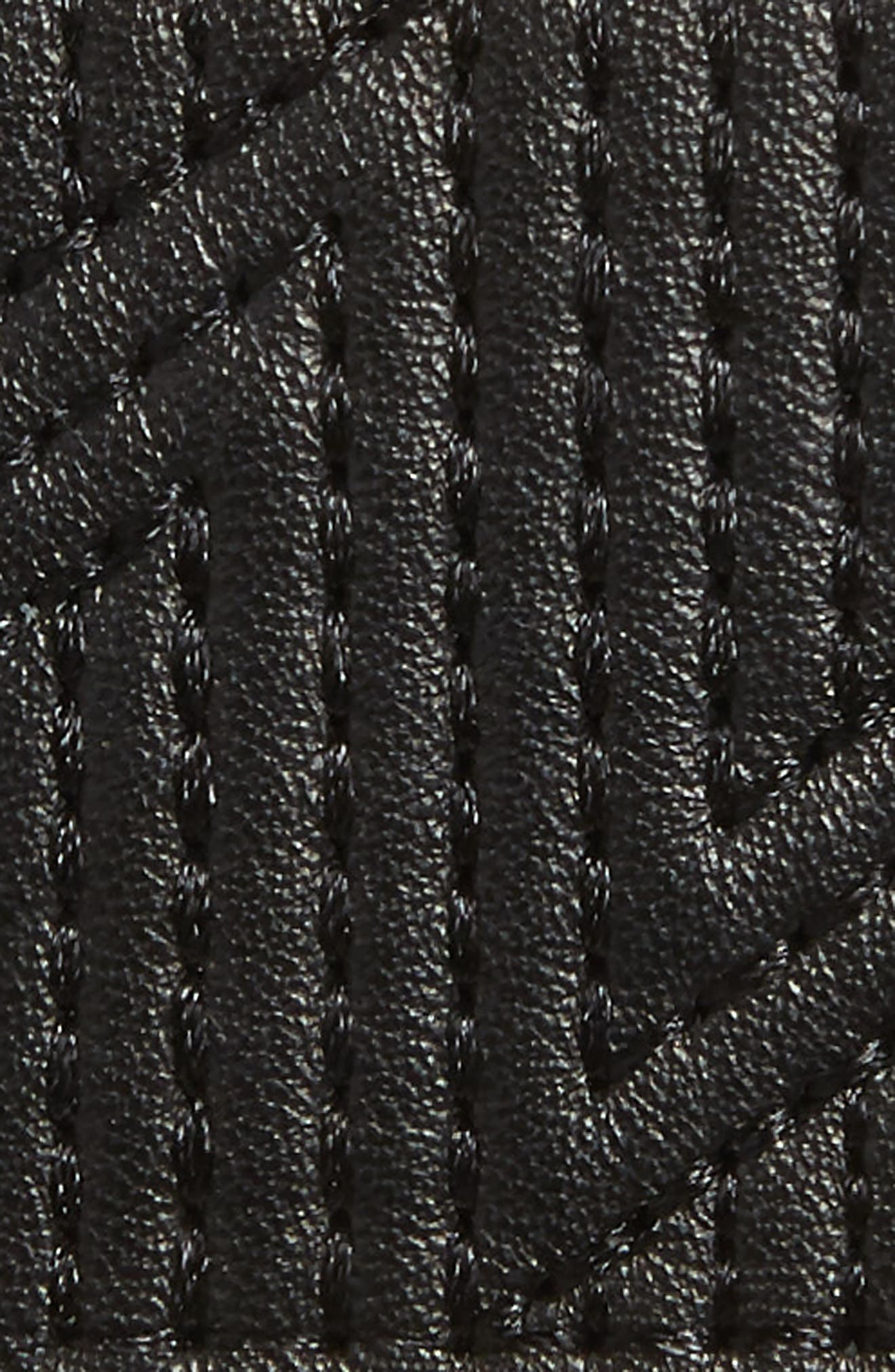 Quilted Lambskin Leather Belt,                             Alternate thumbnail 3, color,                             BLACK