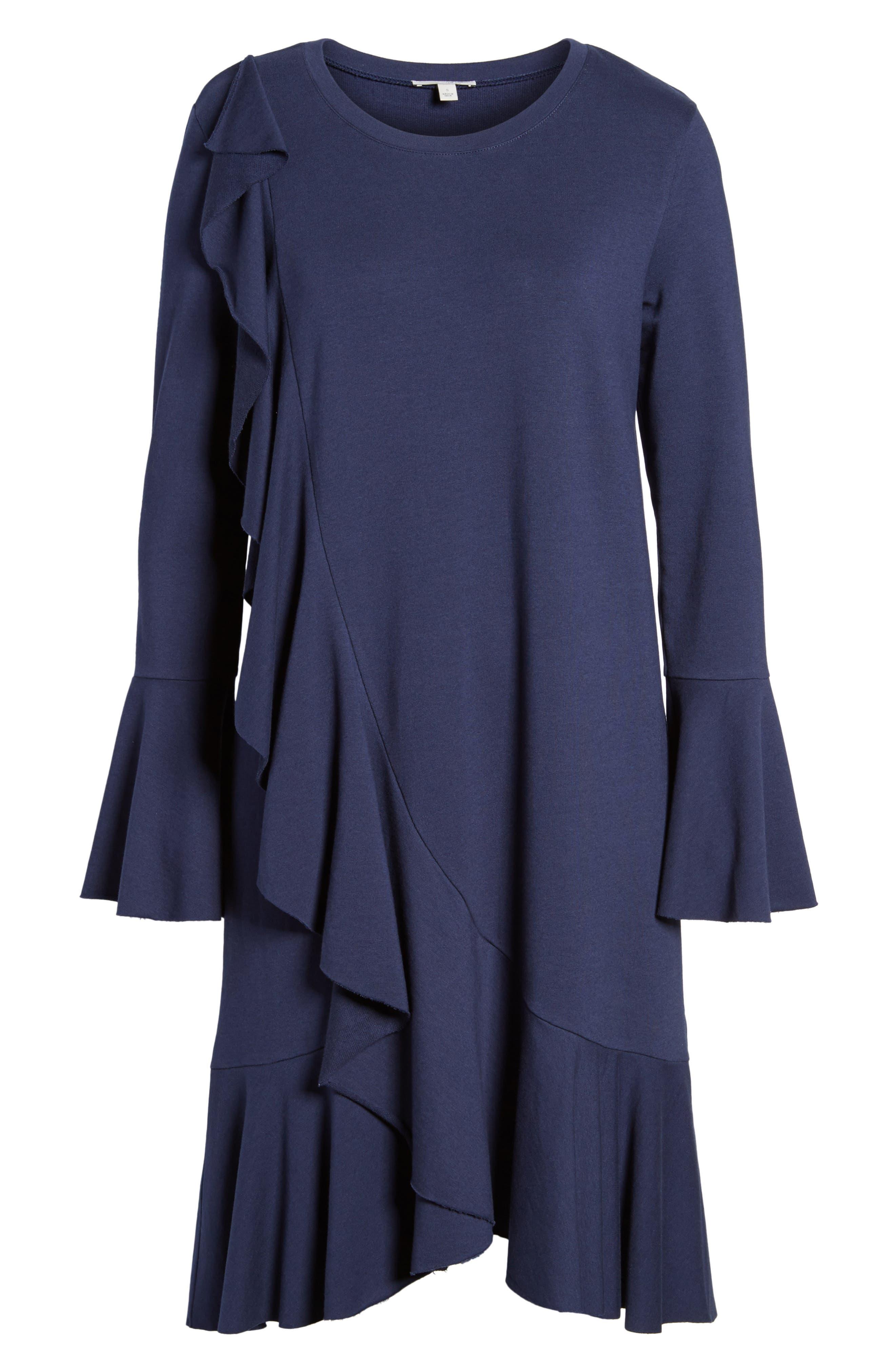 Ruffle Detail Knit Dress,                             Alternate thumbnail 18, color,