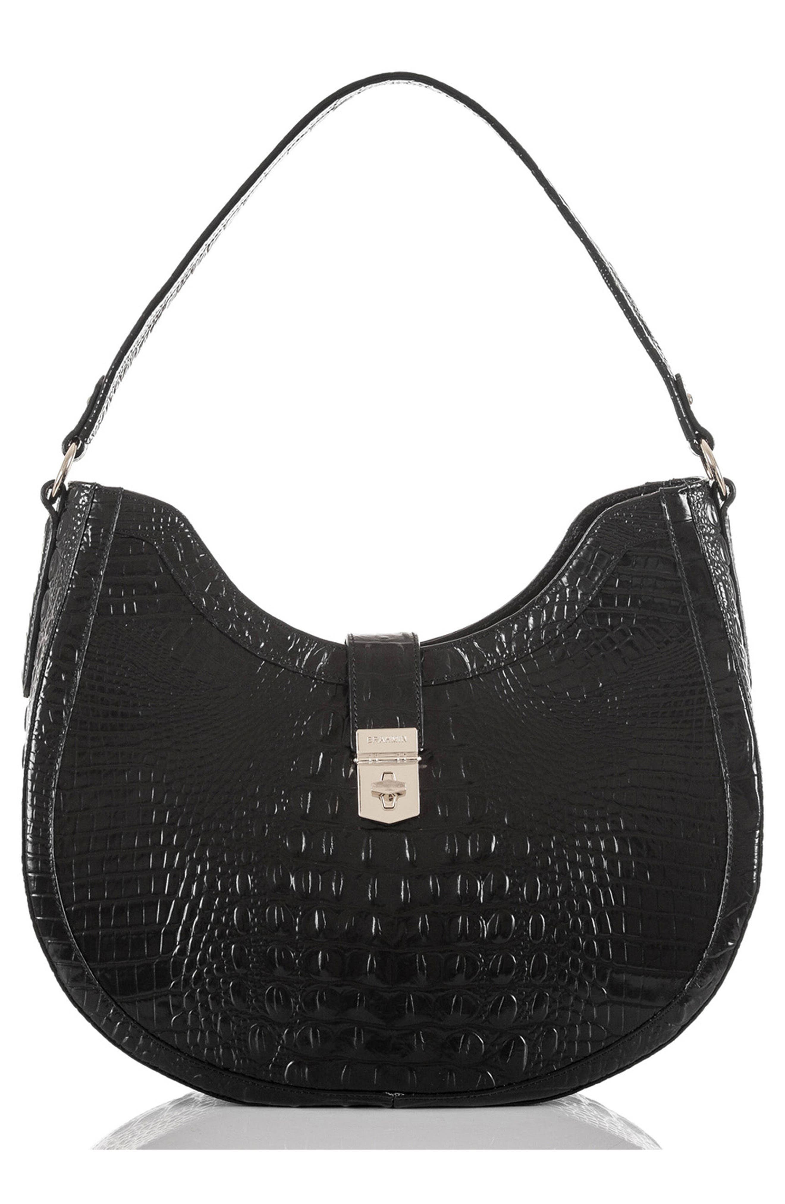 Bethany Croc Embossed Leather Hobo,                             Main thumbnail 1, color,                             001