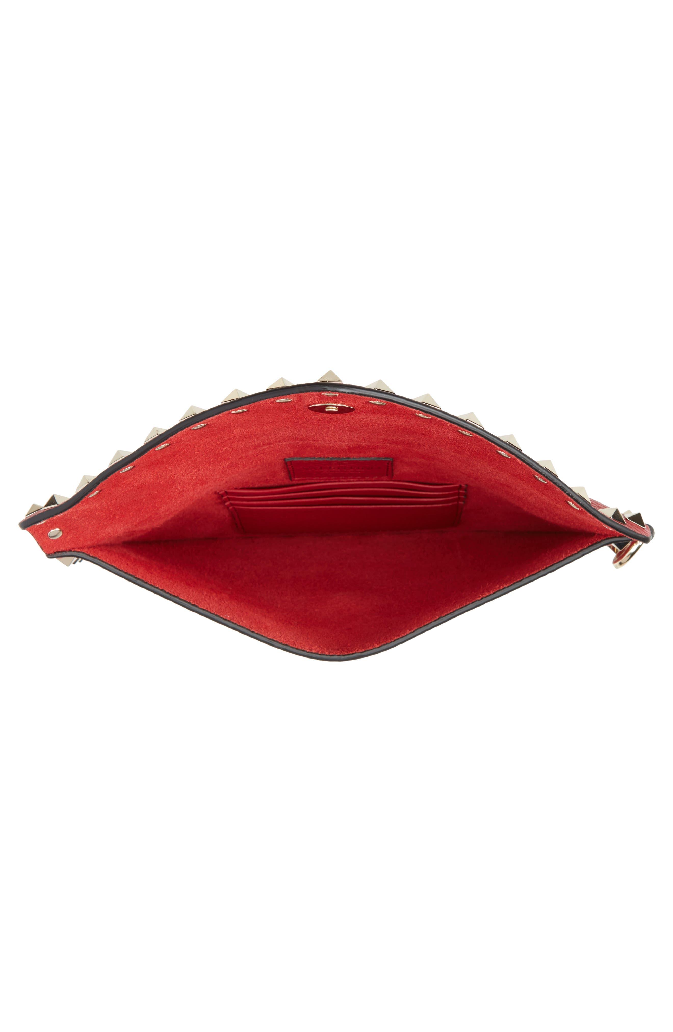 Medium Rockstud Leather Envelope Pouch,                             Alternate thumbnail 4, color,                             ROSSO V