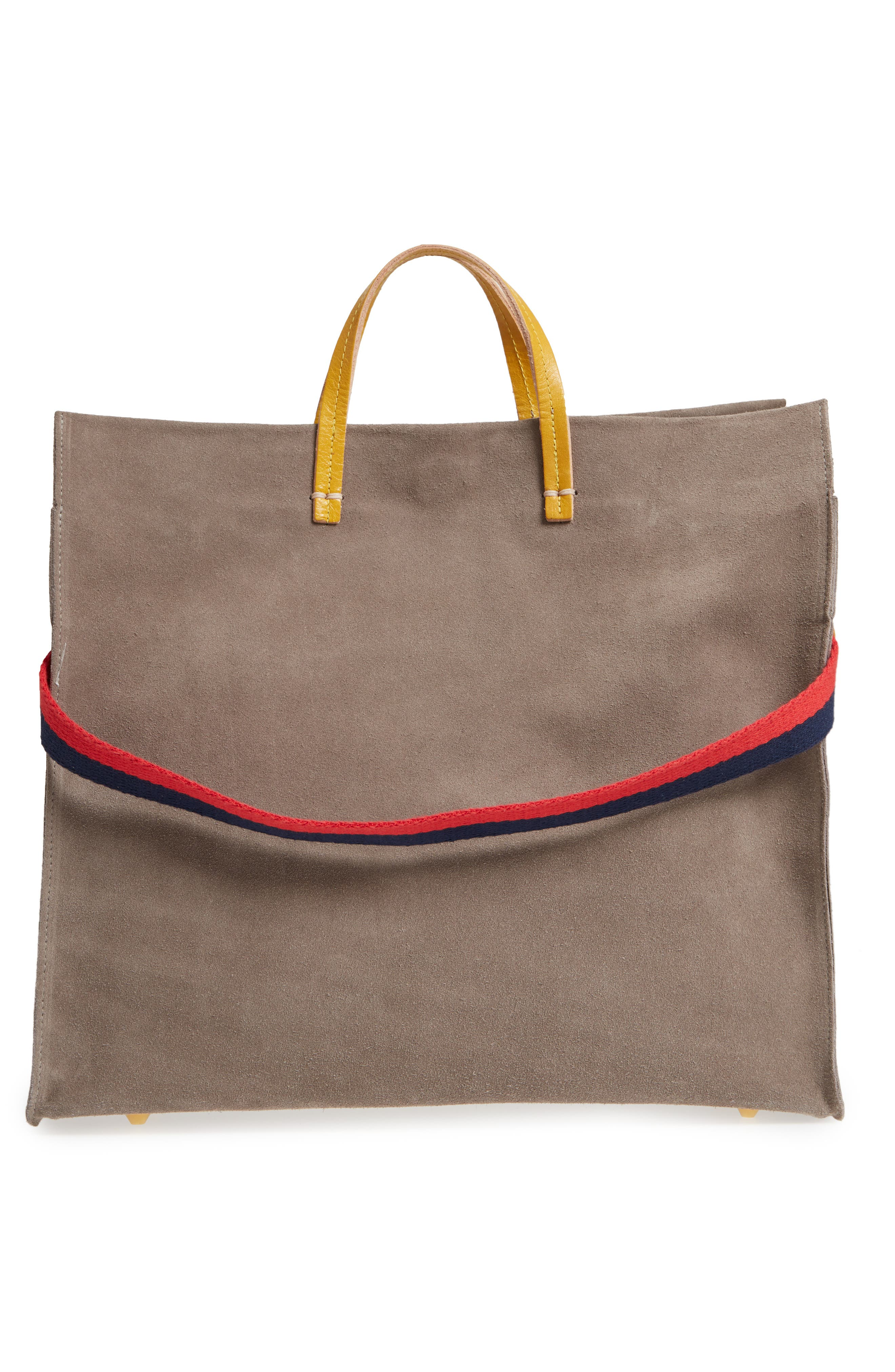 Simple Suede Tote,                             Alternate thumbnail 4, color,                             TAUPE/ YELLOW RUSTIC