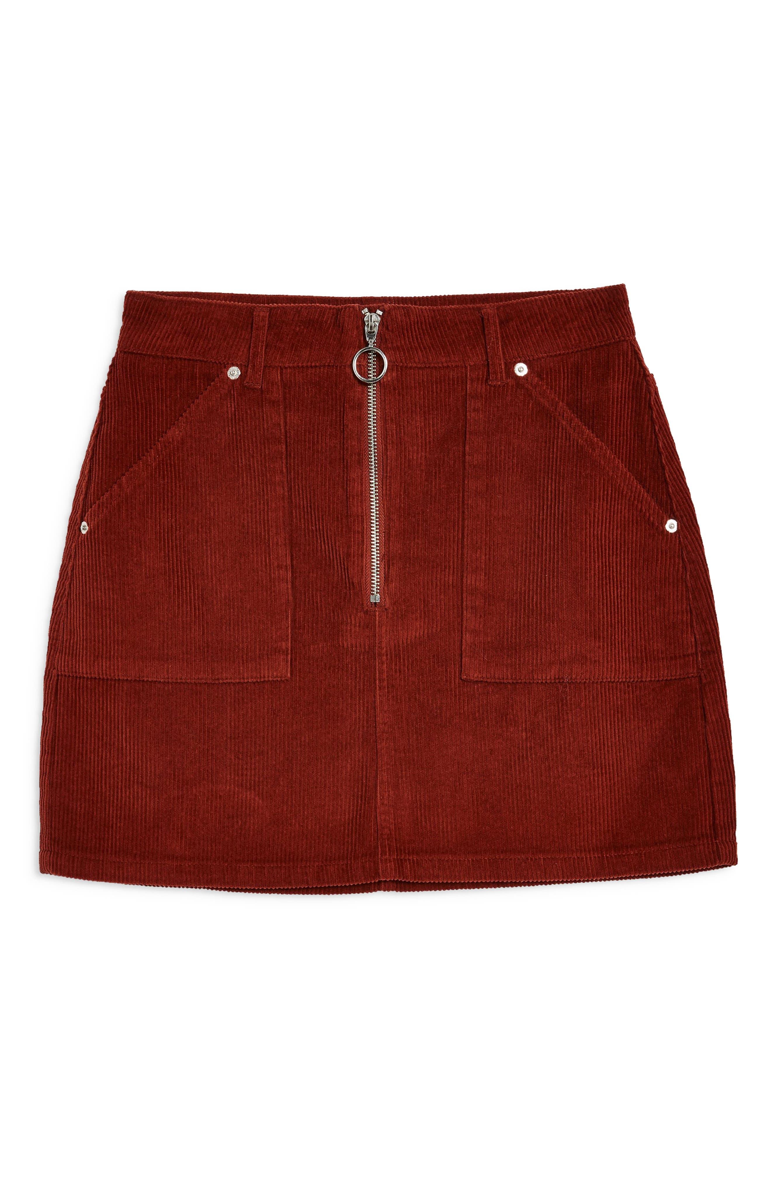 Front Zip Corduroy Miniskirt,                             Alternate thumbnail 4, color,                             RUST