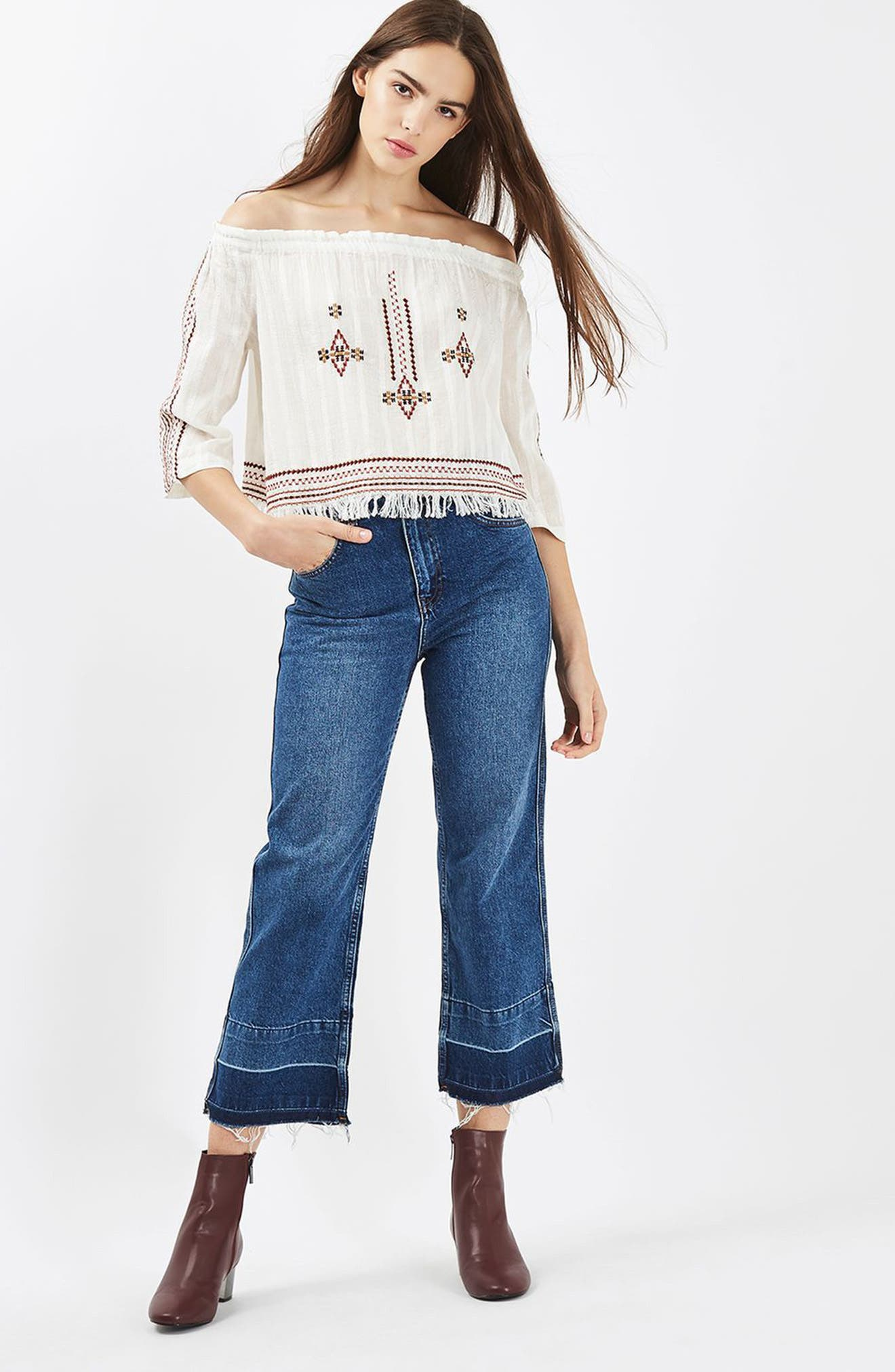 Bardot Embroidered Top,                             Alternate thumbnail 4, color,                             900