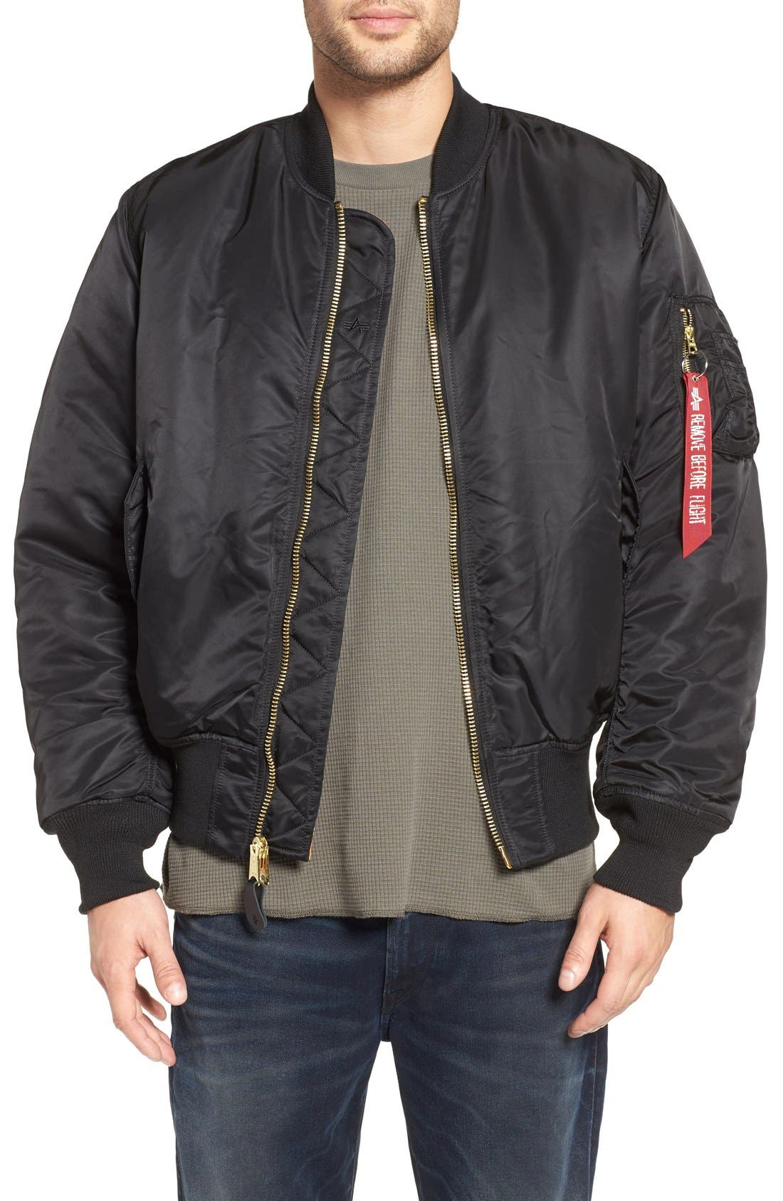 'MA-1' Slim Fit Bomber Jacket,                             Main thumbnail 1, color,                             BLACK