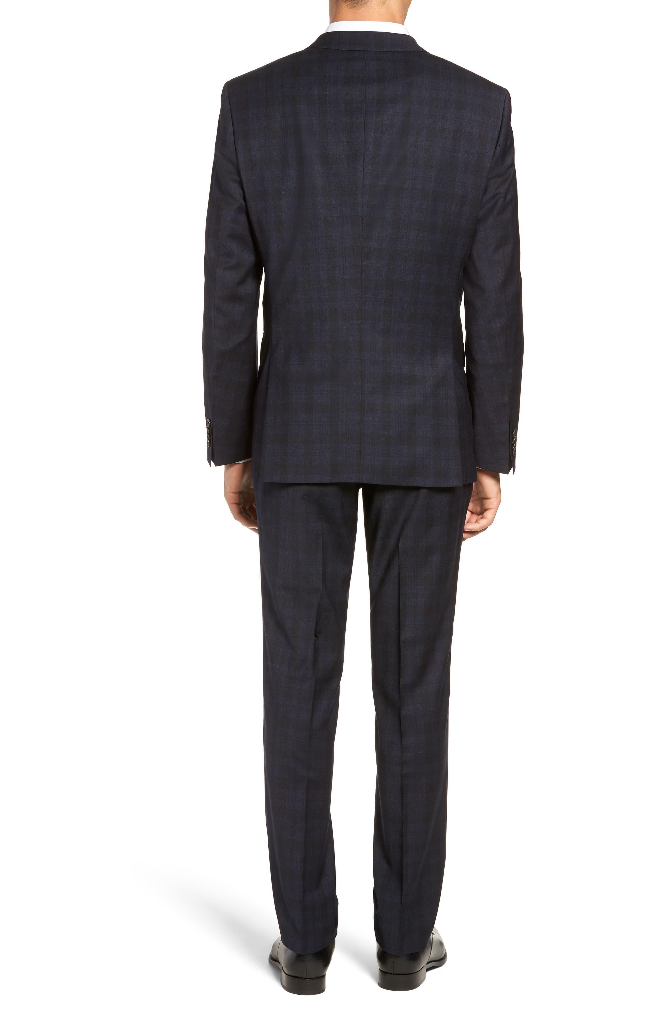 Huge/Genius Trim Fit Stretch Plaid Wool Suit,                             Alternate thumbnail 2, color,                             BLUE