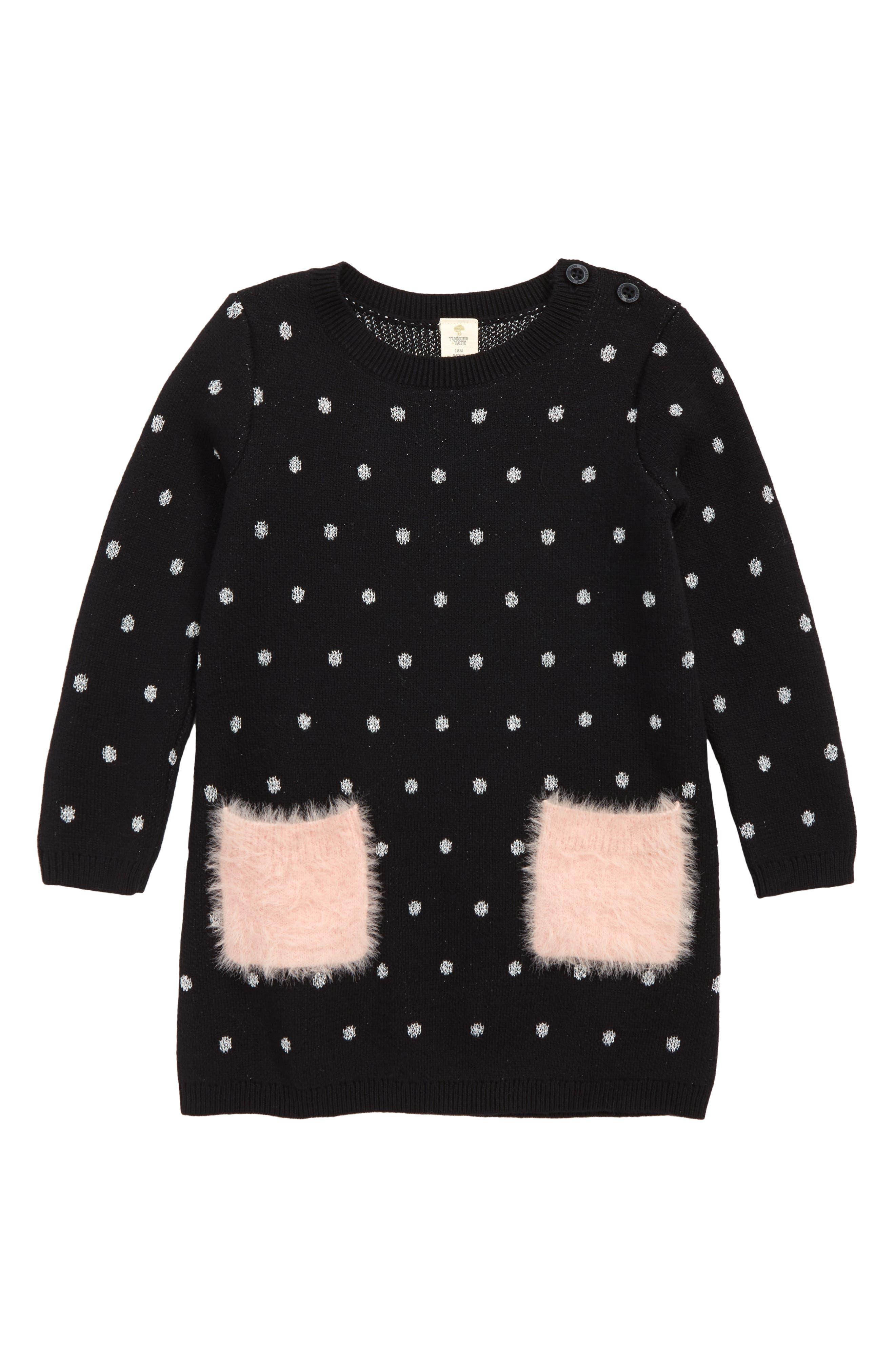 Fuzzy Pocket Sweater Dress,                             Main thumbnail 1, color,                             BLACK- SILVER DOT