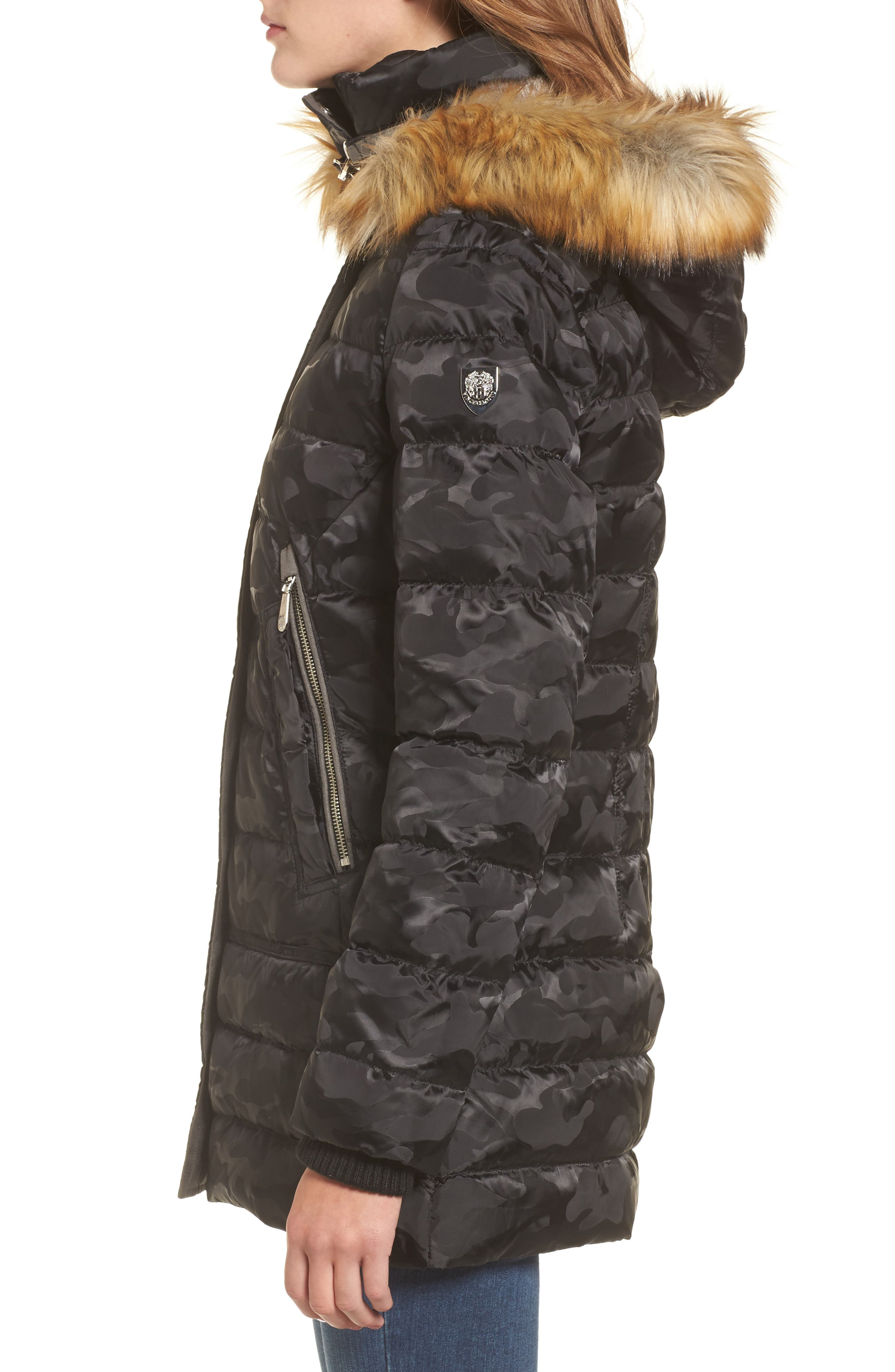 Quilted Coat with Faux Fur Trim Hood,                             Alternate thumbnail 3, color,                             016