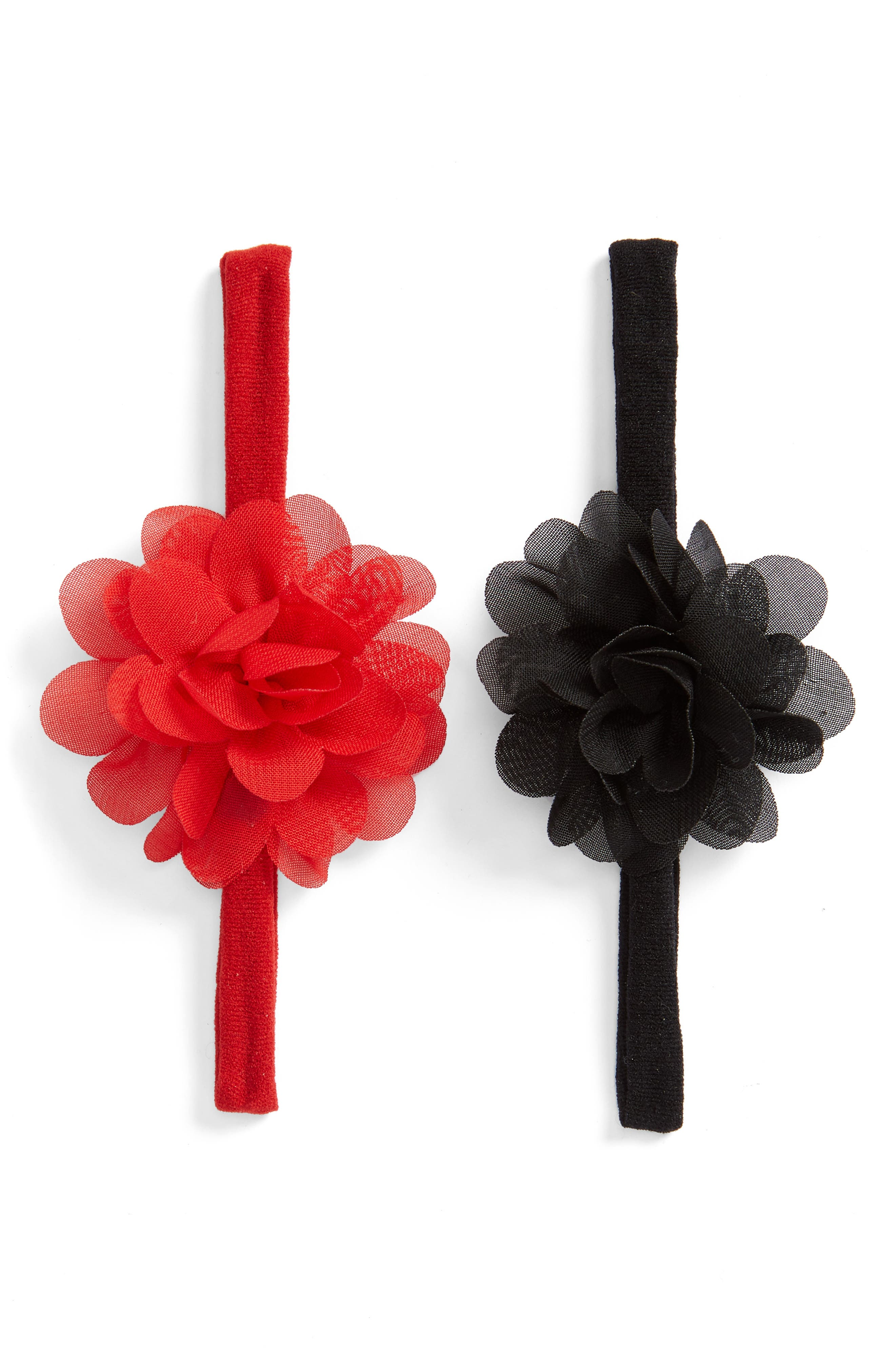 Set of 2 Mini Flower Headbands,                         Main,                         color, BLACK/ RED