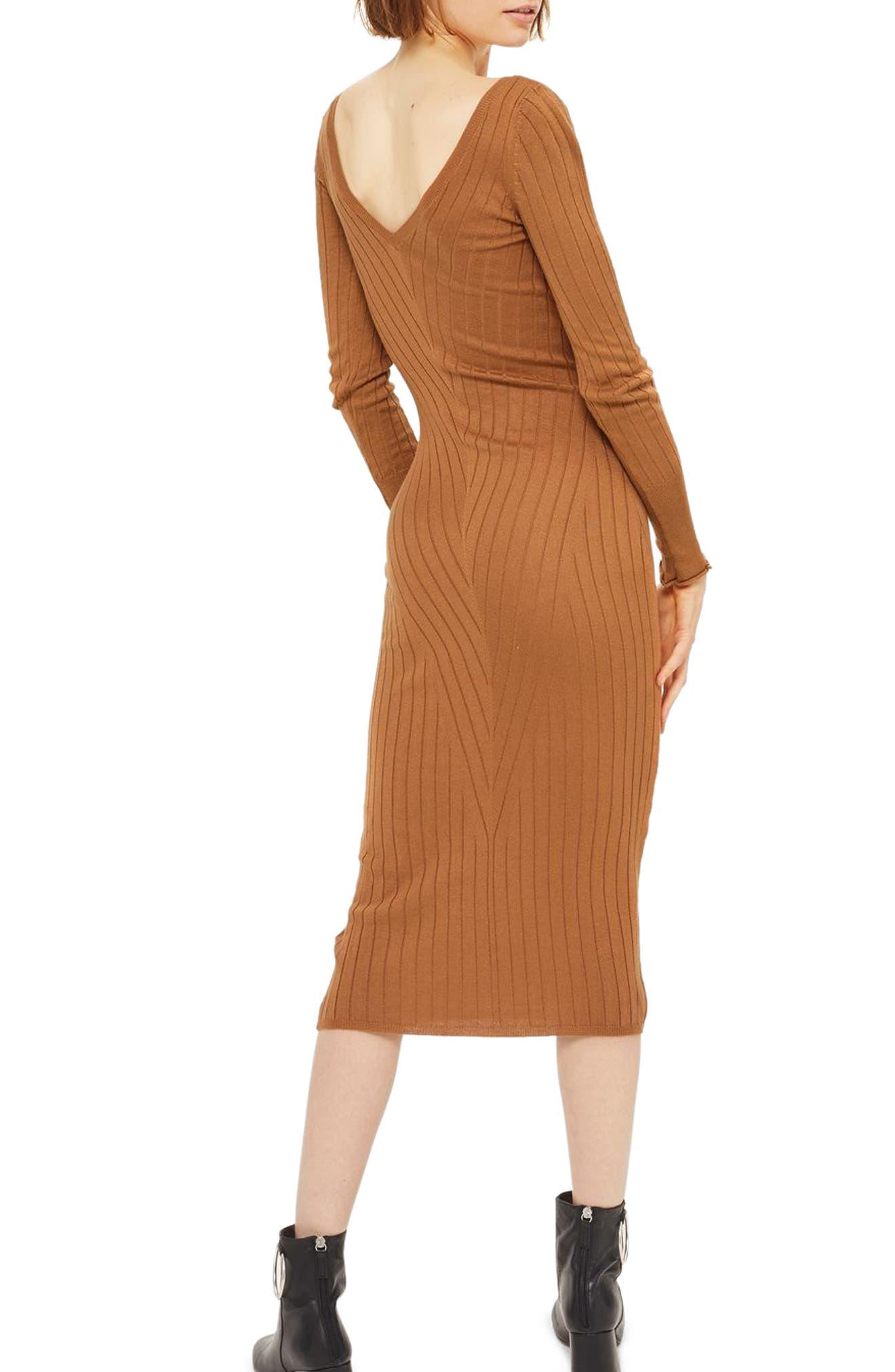 Double V-Neck Ribbed Midi Dress,                             Alternate thumbnail 2, color,                             252