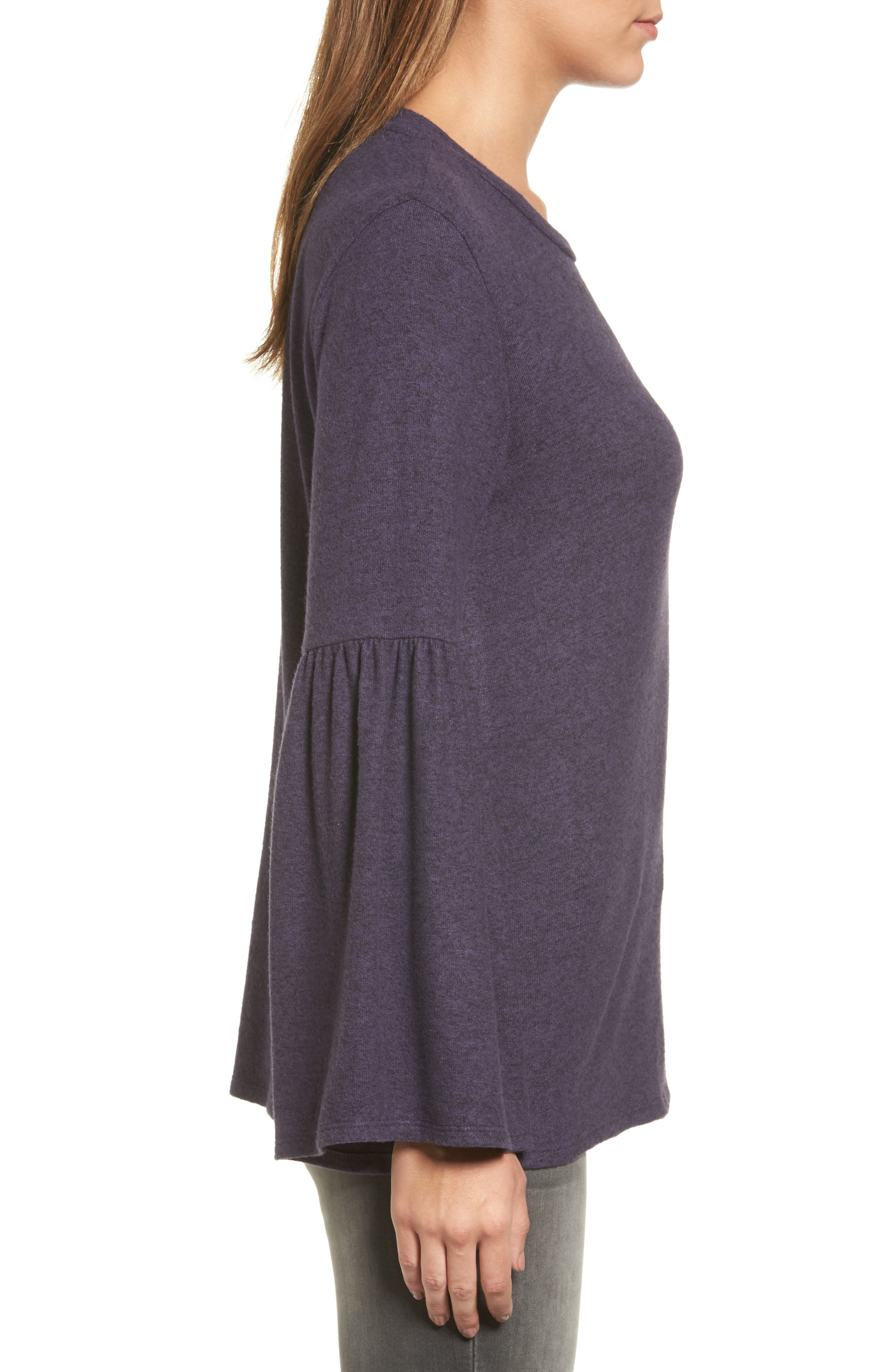 Bell Sleeve Cozy Fleece Pullover,                             Alternate thumbnail 34, color,