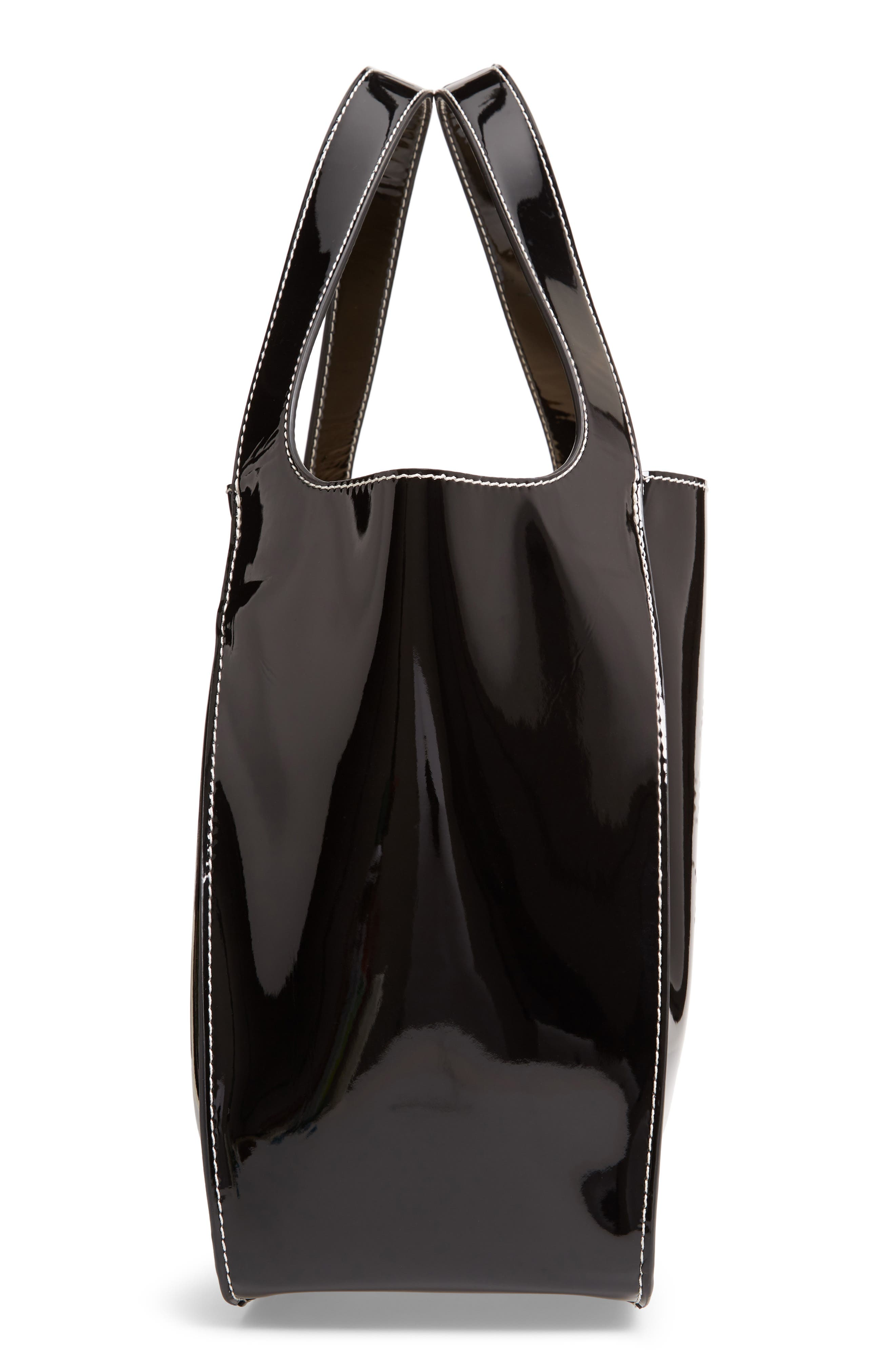 Small Logo Faux Leather Tote,                             Alternate thumbnail 5, color,                             001