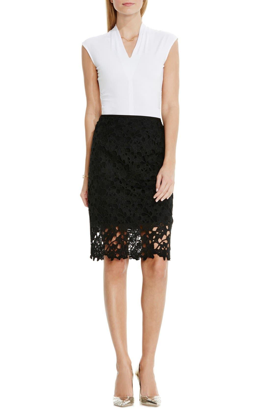 Floral Lace Pencil Skirt,                             Alternate thumbnail 4, color,                             001