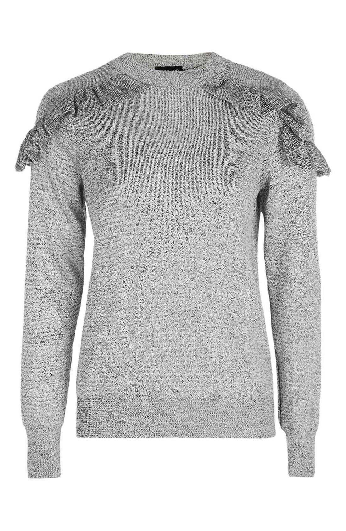 Ruffle Shoulder Sweater,                             Alternate thumbnail 7, color,                             020