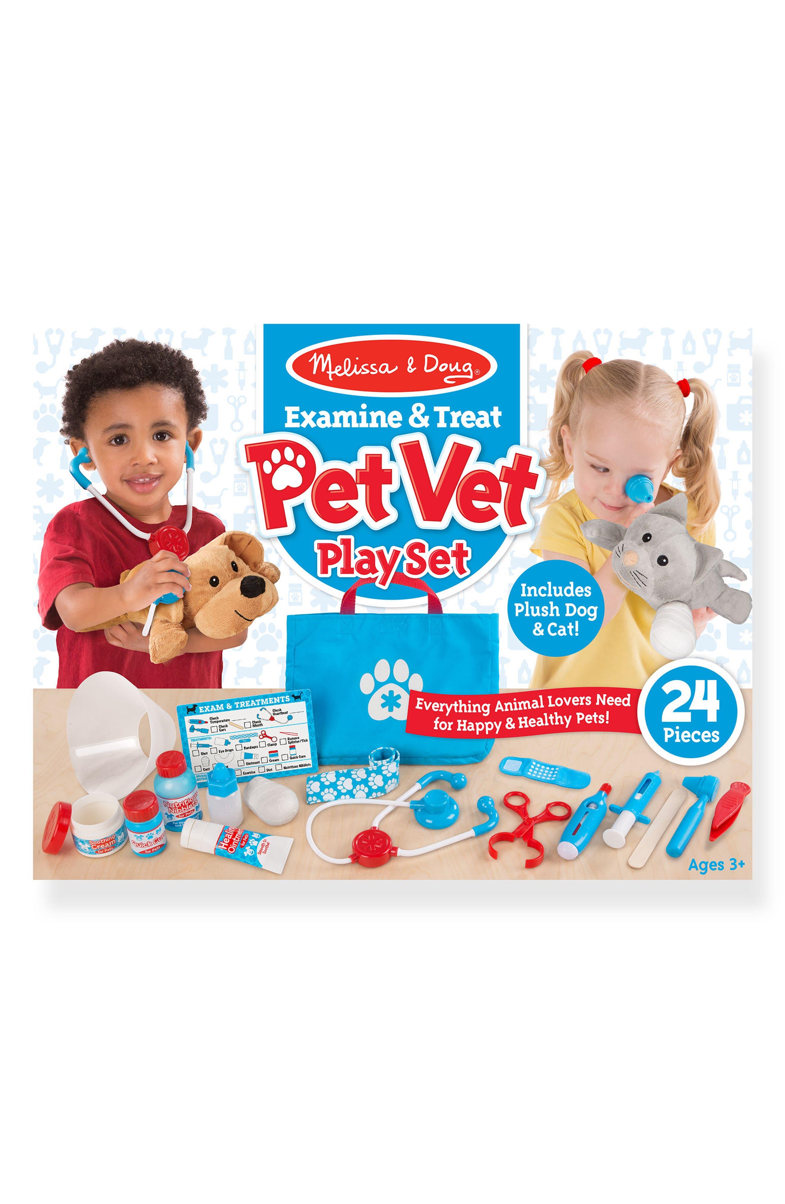 MELISSA & DOUG 24-Piece Pet Vet Play Set, Main, color, BLUE