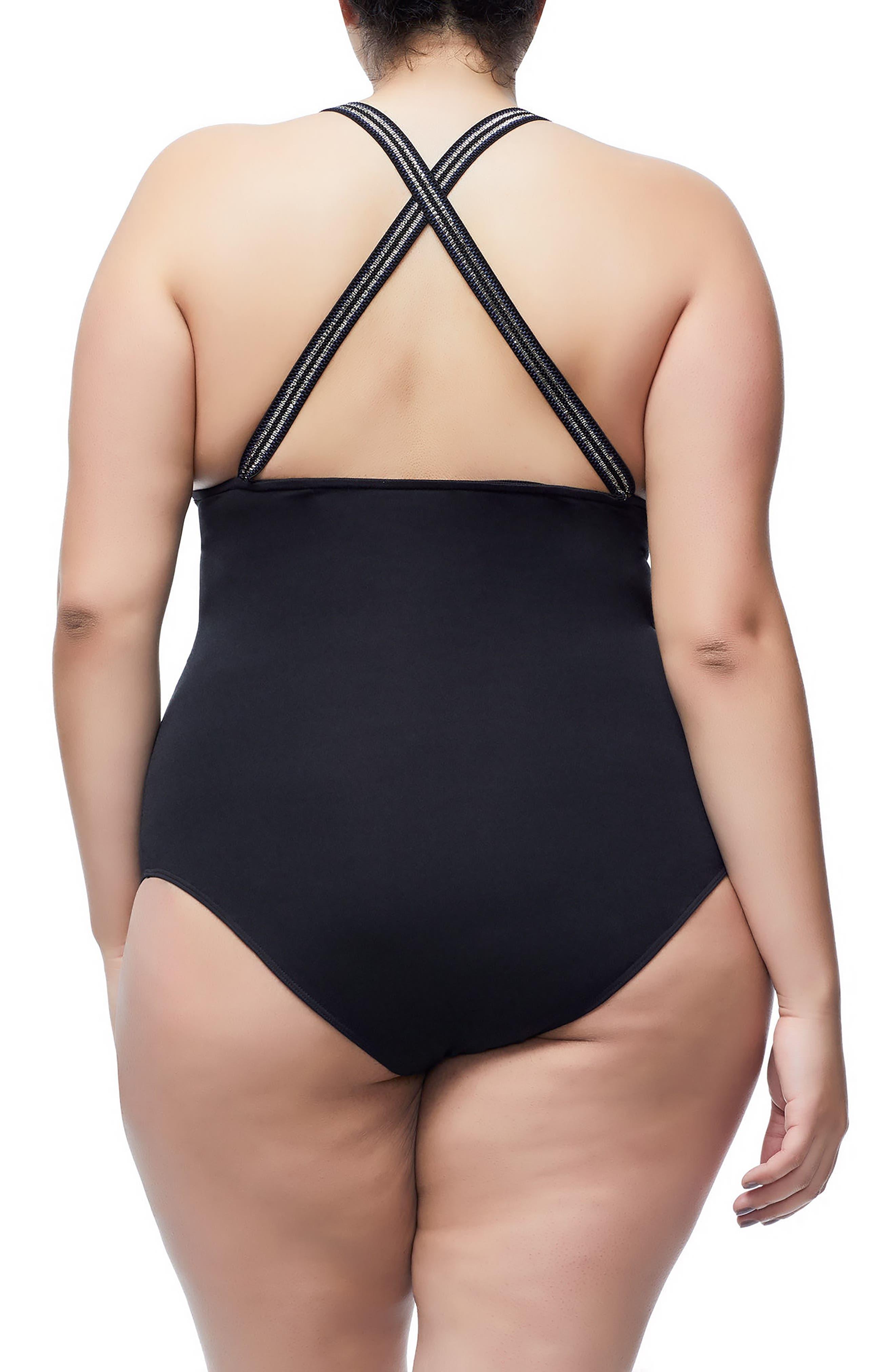 Good Body Cross Back Bodysuit,                             Alternate thumbnail 5, color,                             BLACK
