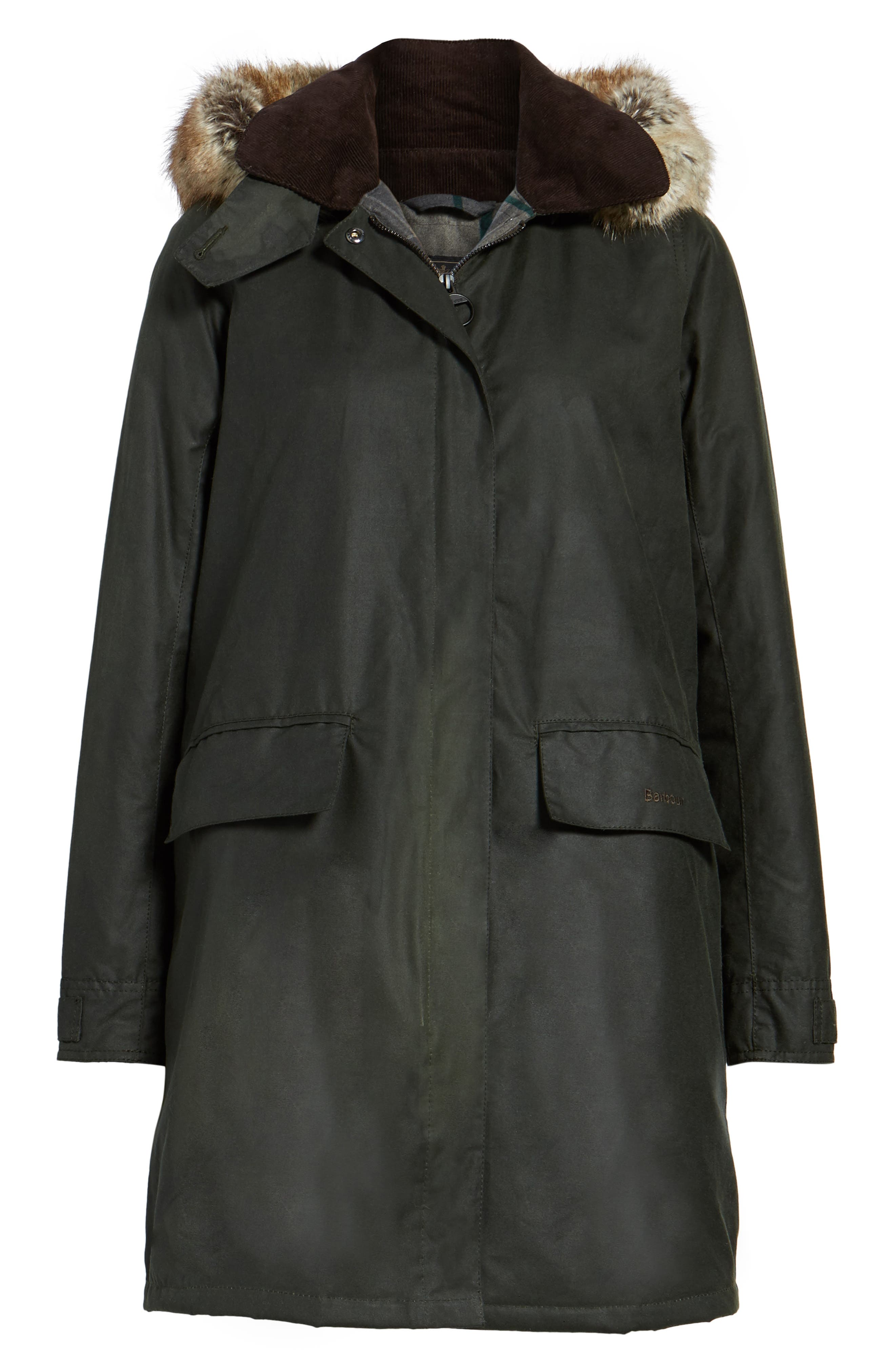 Fortrose Hooded Water Resistant Waxed Canvas Jacket with Faux Fur Trim,                             Alternate thumbnail 5, color,                             302
