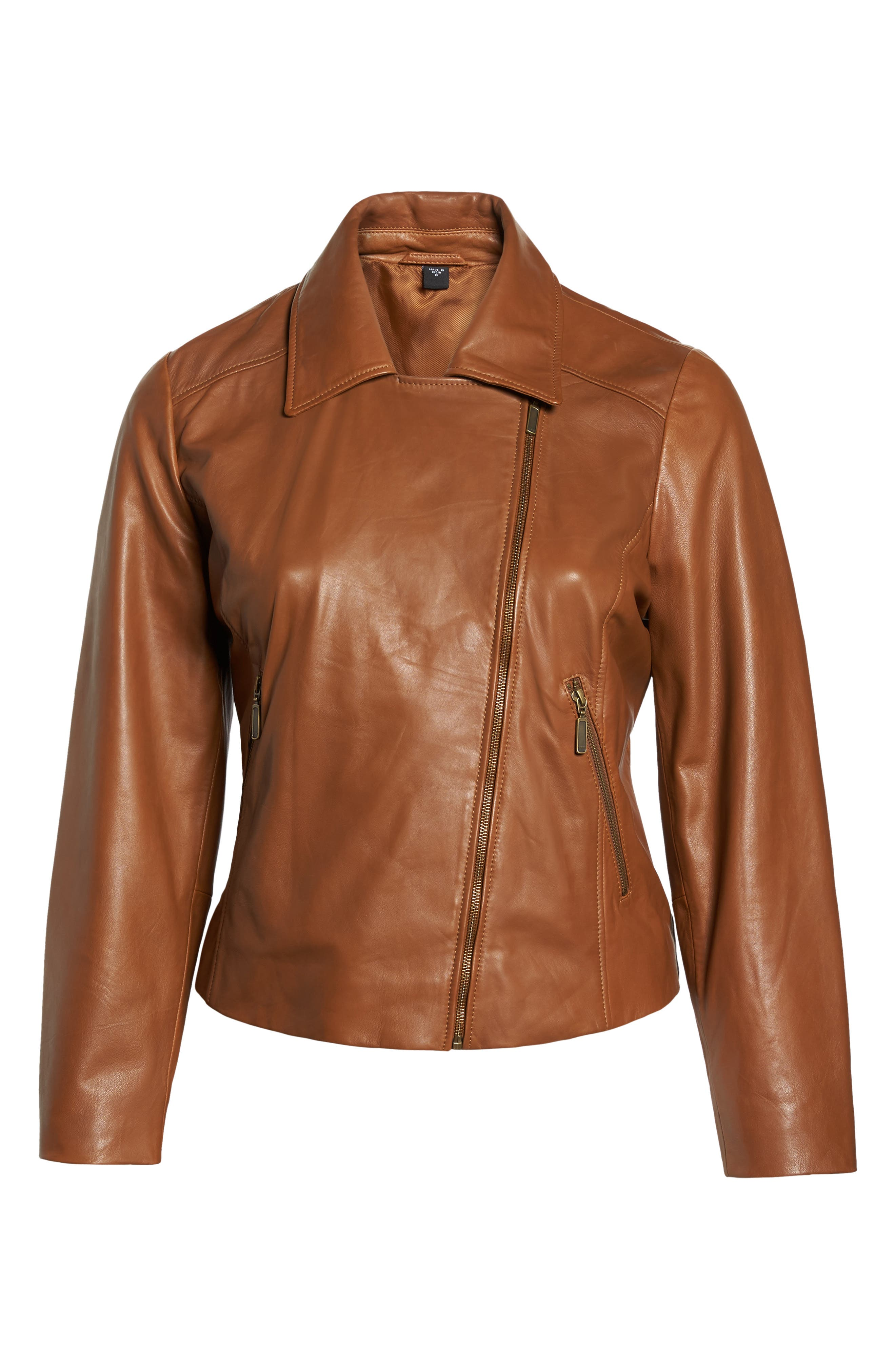 Leather Moto Jacket,                             Alternate thumbnail 6, color,