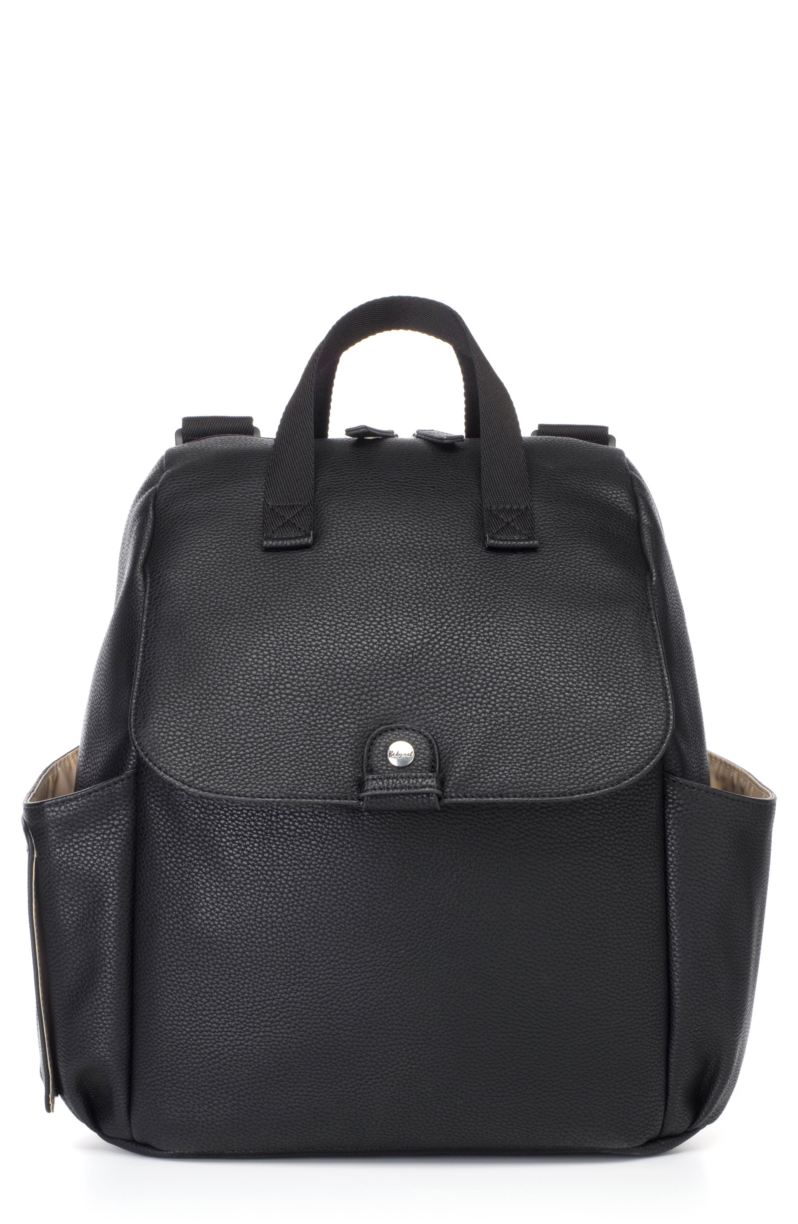 Babymel Robyn Convertible Faux Leather Diaper Backpack  Black