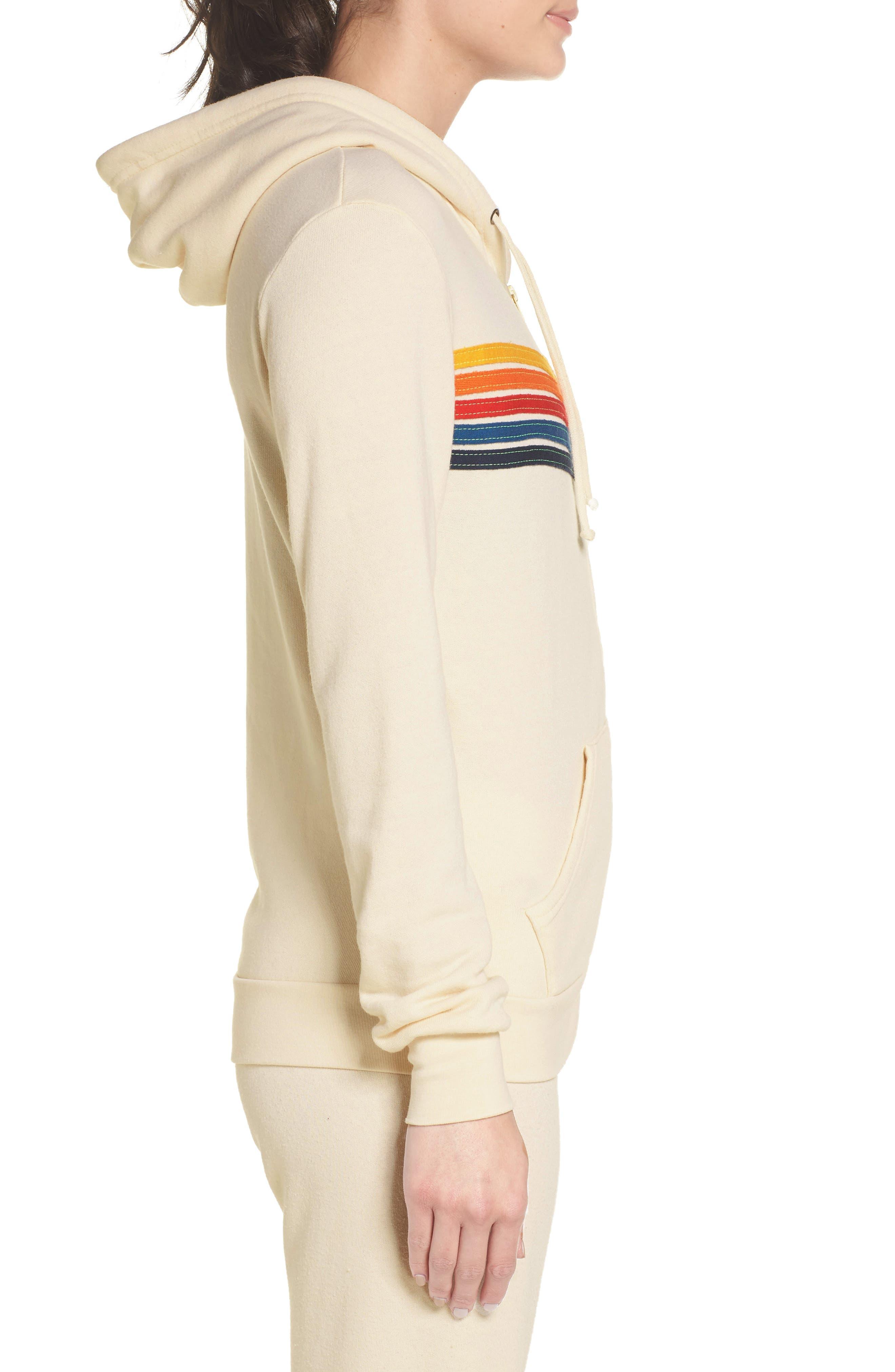 AVIATOR NATION,                             5-Stripe Zip Hoodie,                             Alternate thumbnail 3, color,                             VINTAGE WHITE