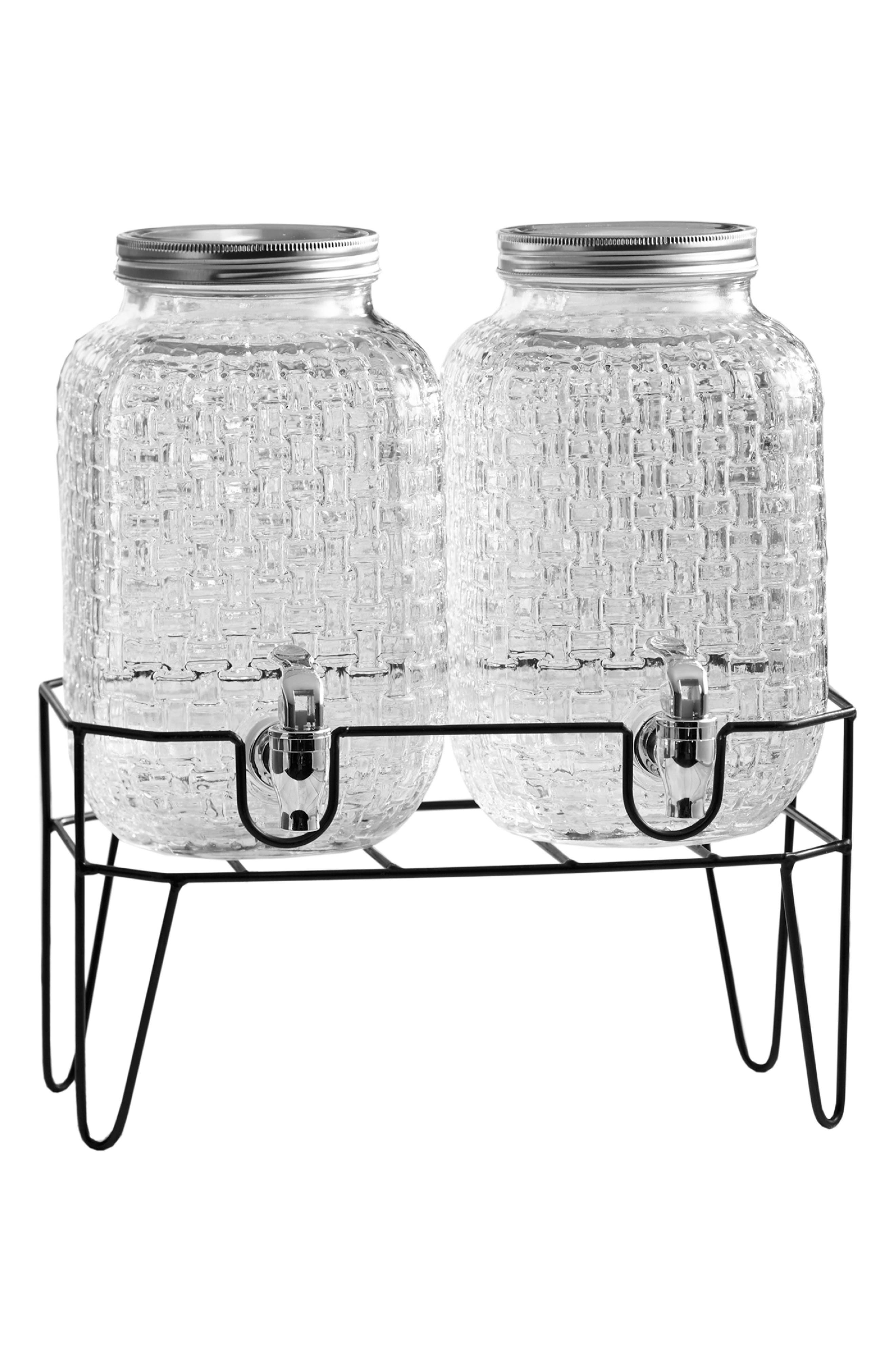 Theo Set of 2 Beverage Dispensers with Stand, Main, color, CLEAR
